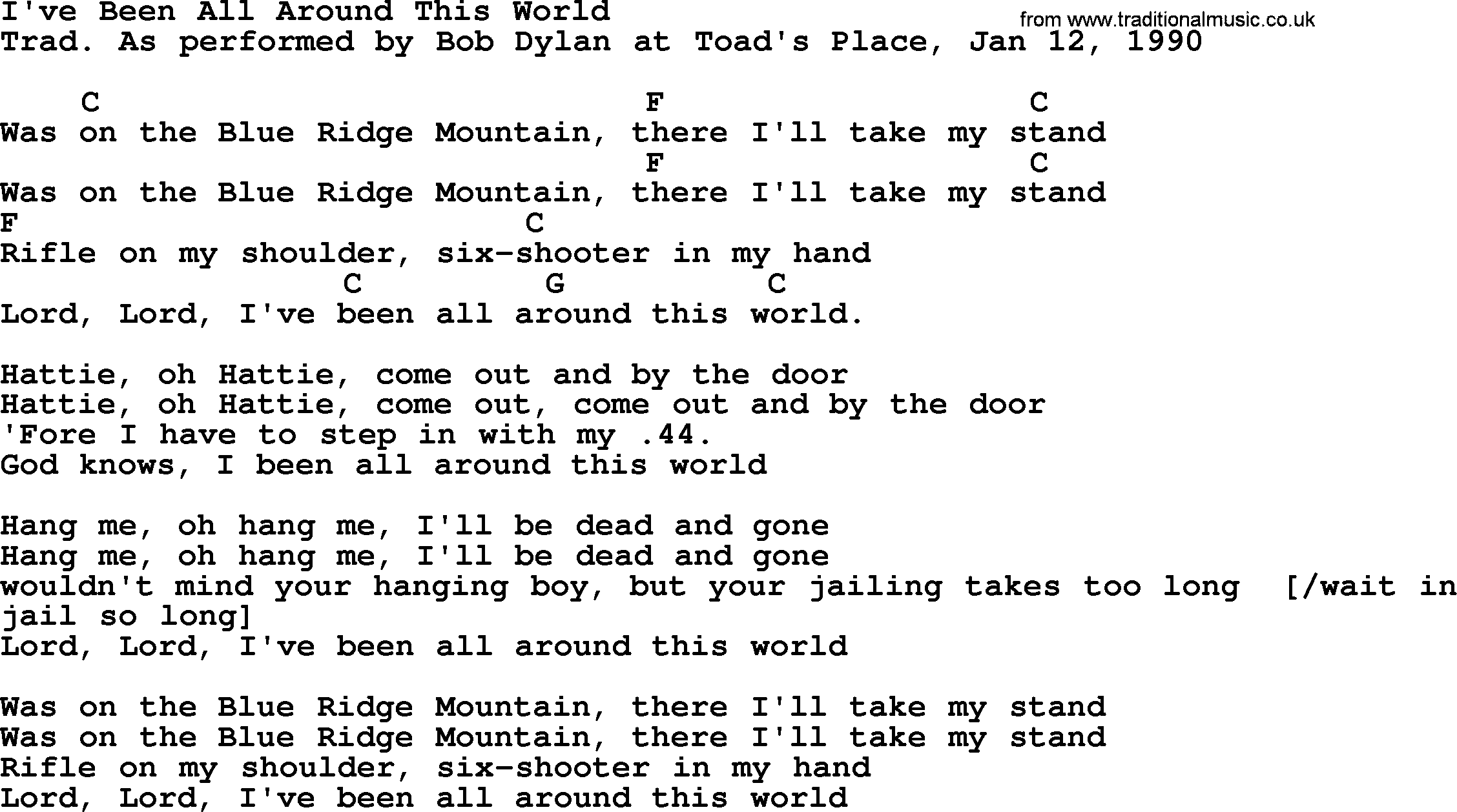 Bob Dylan Song Ive Been All Around This World Lyrics And Chords