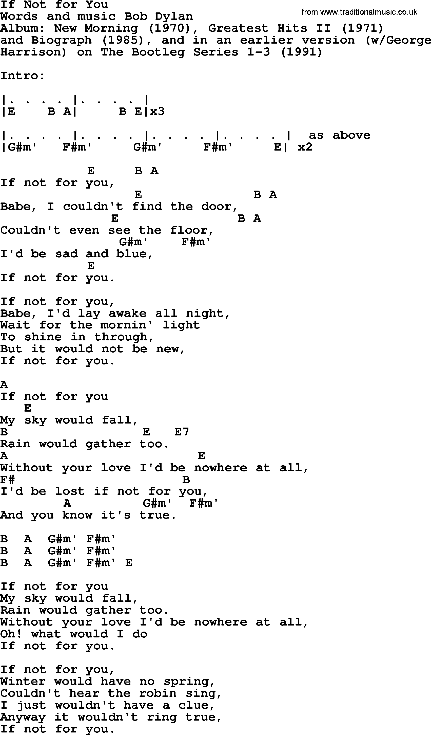 Bob dylan song if not for you lyrics and chords bob dylan song lyrics with chords if not for you hexwebz Image collections