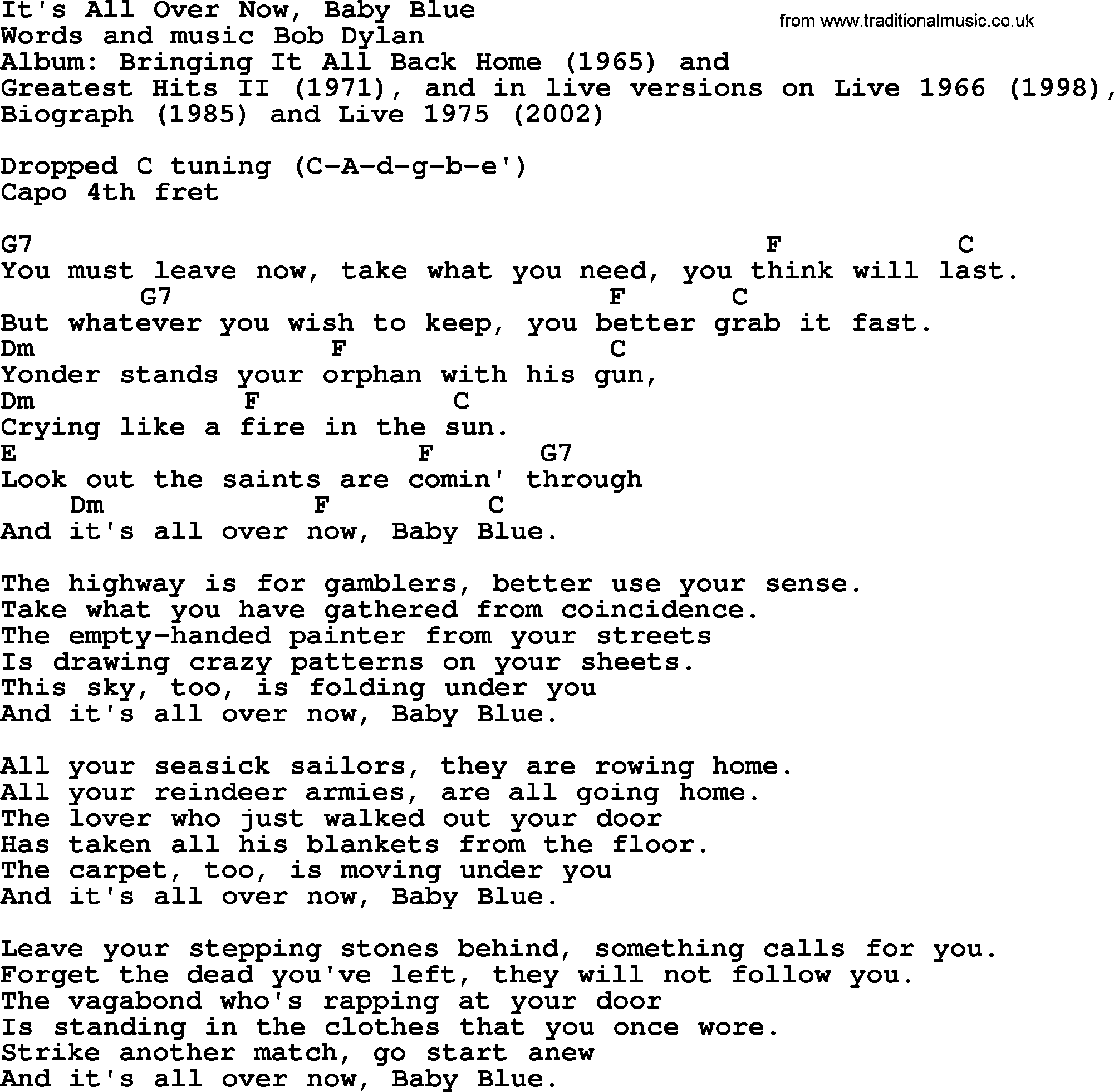 Bob Dylan Song Its All Over Now Baby Blue Lyrics And Chords