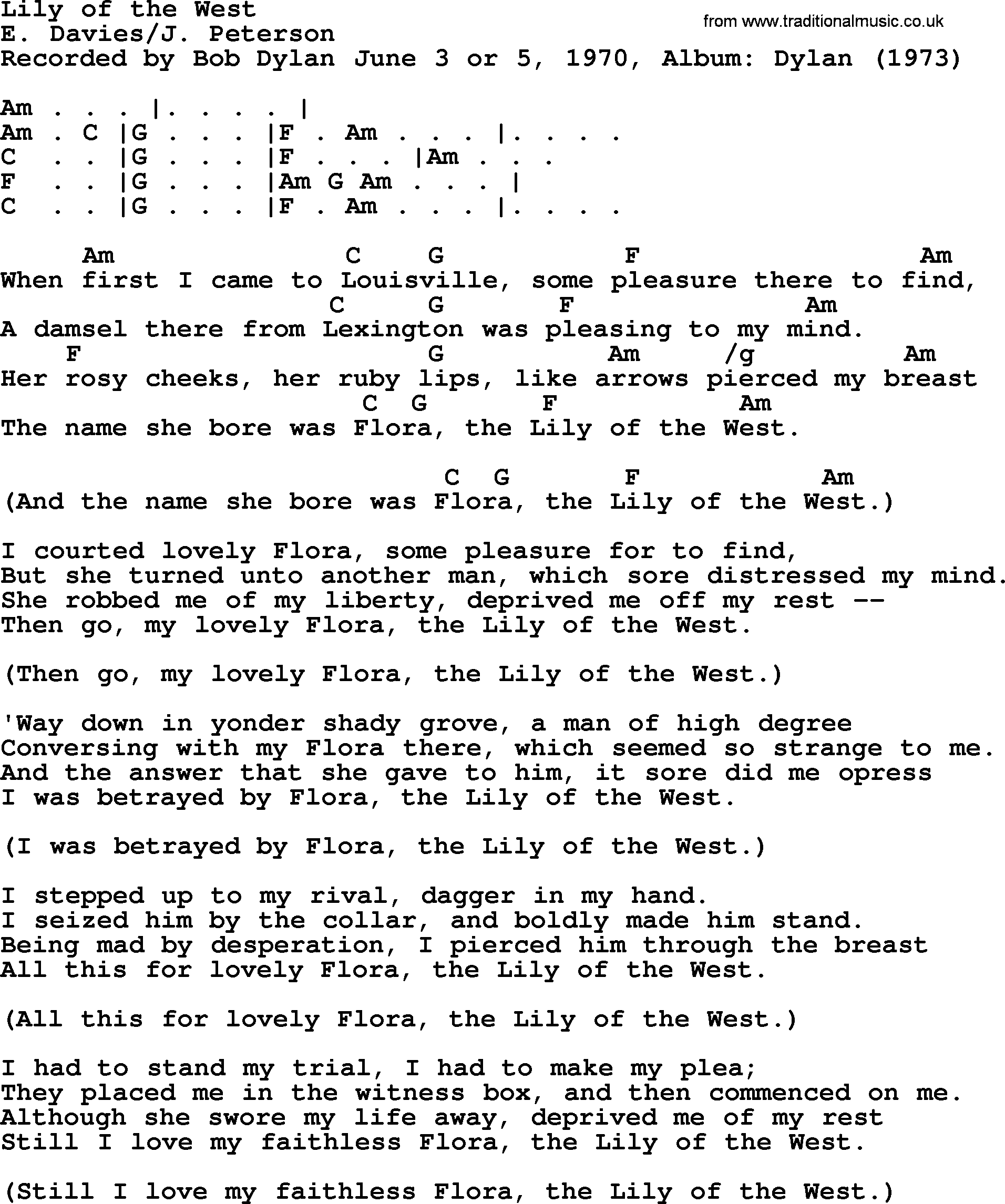 Lily Of The West Chords