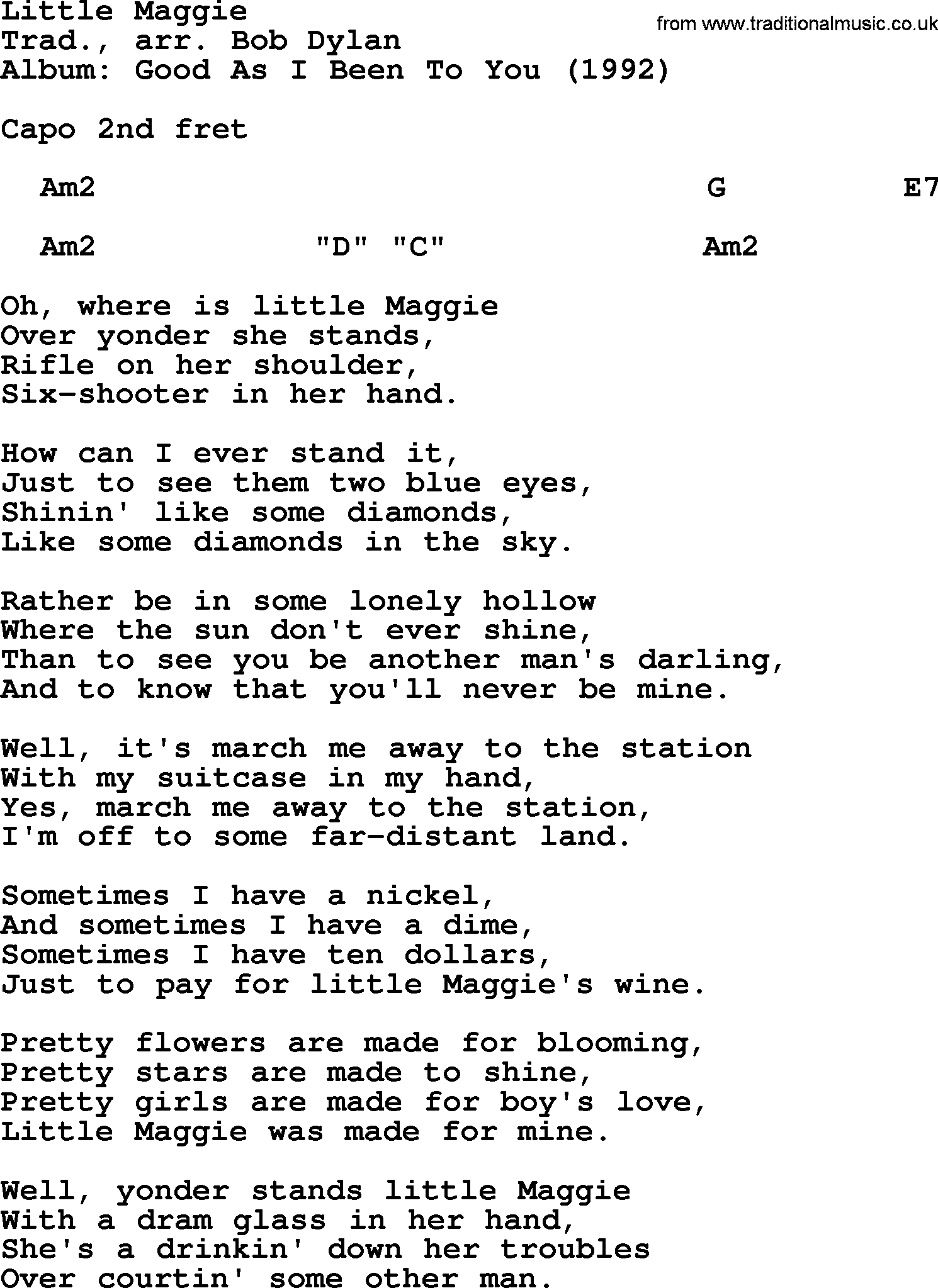 Bob Dylan Song Little Maggie Lyrics And Chords
