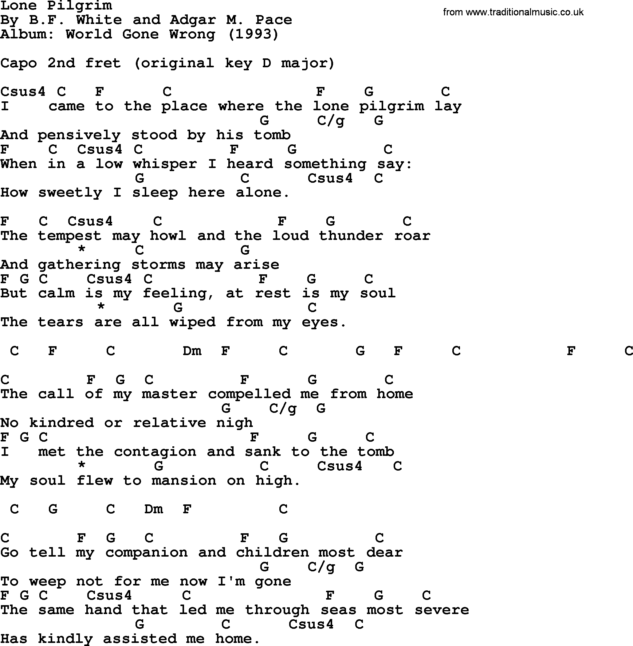 Lone Pilgrim, Lyrics And Chords