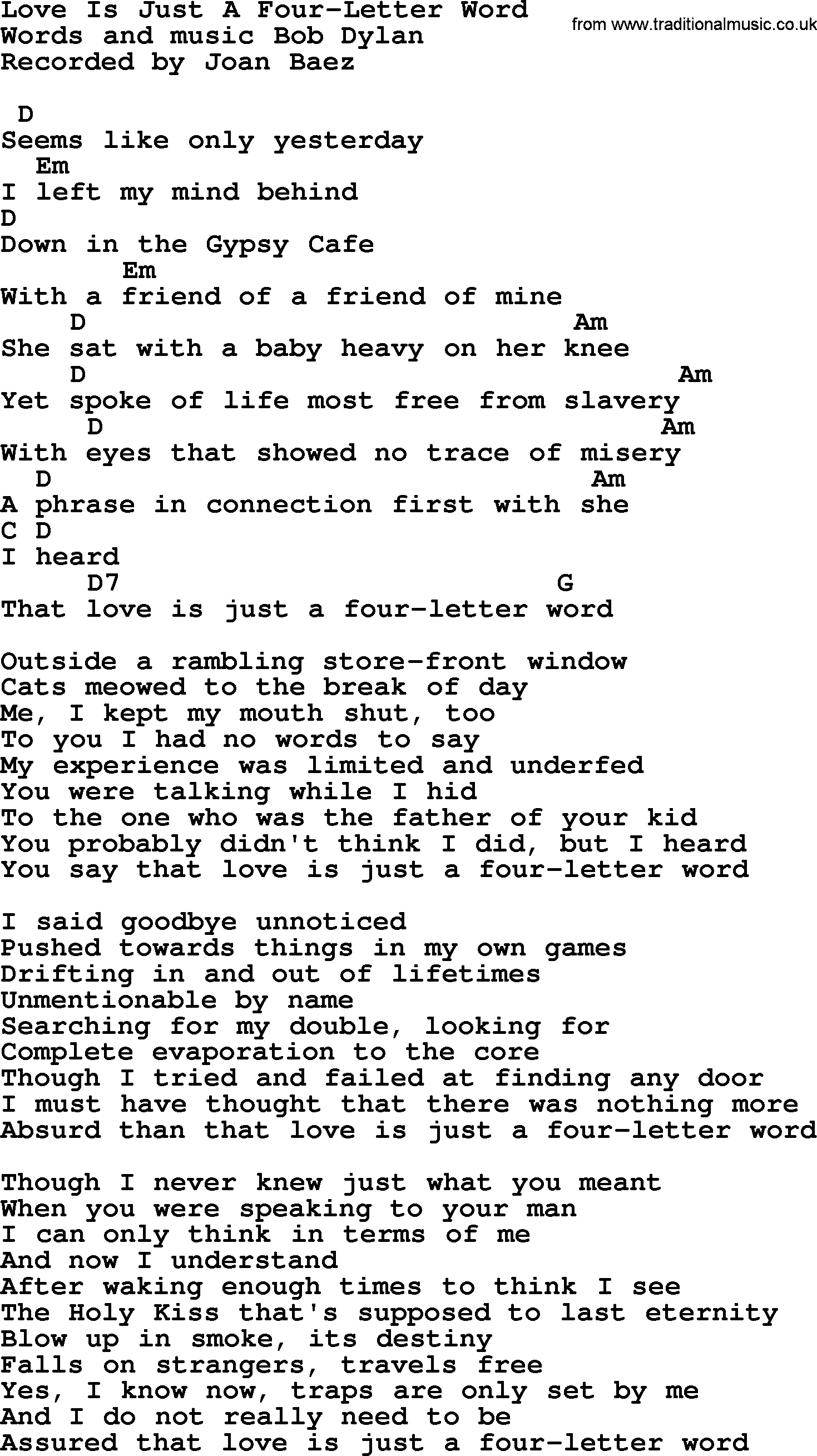 Bob Dylan Song  Love Is Just A FourLetter Word Lyrics And Chords