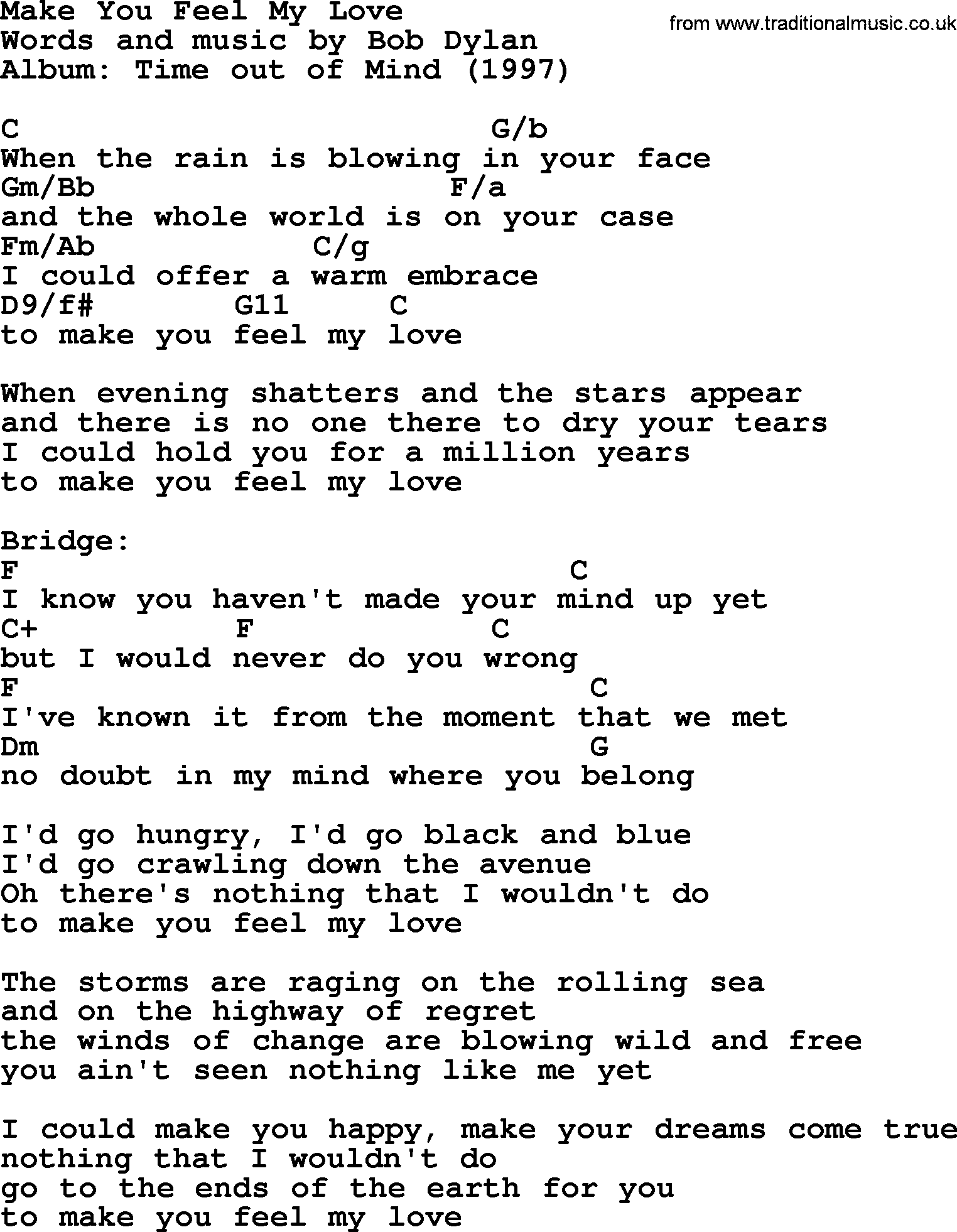 Bob Dylan song - Make You Feel My Love, lyrics and chords