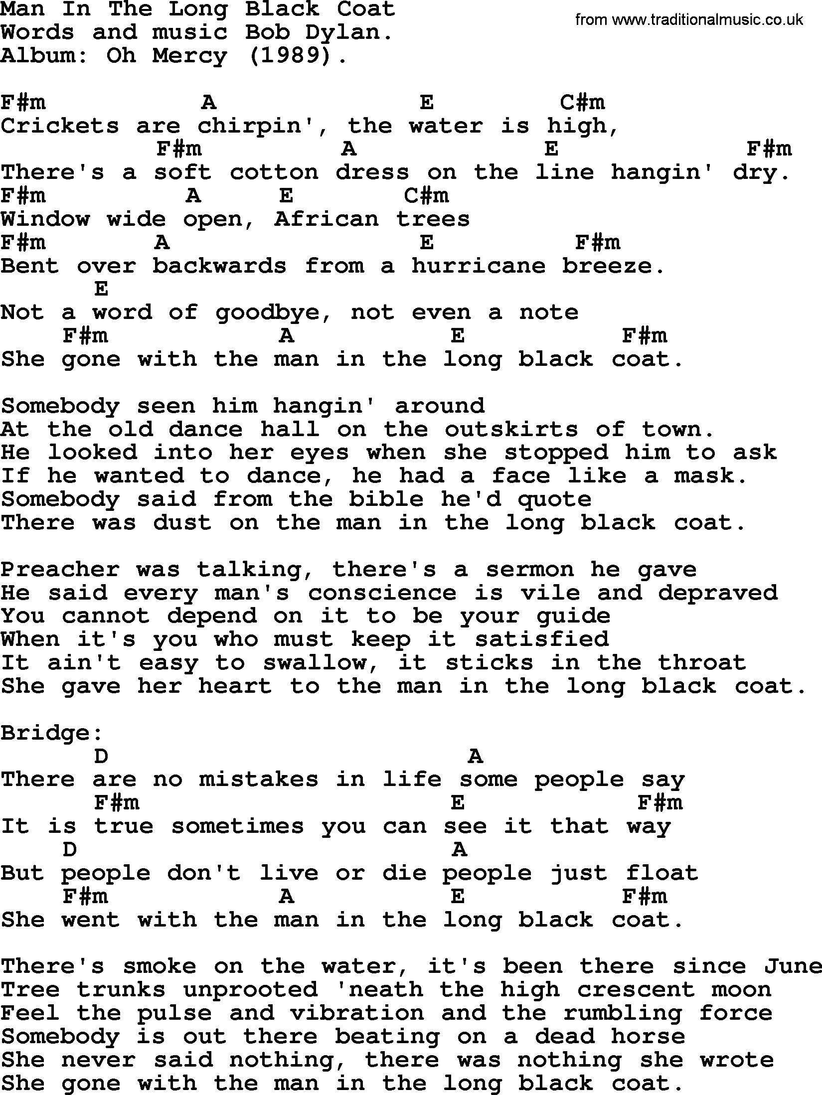 Bob Dylan song - Man In The Long Black Coat, lyrics and chords