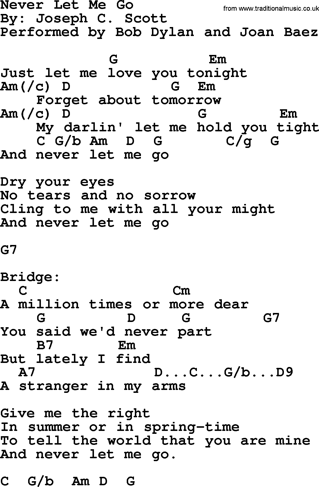 Bob Dylan song - Never Let Me Go, lyrics and chords