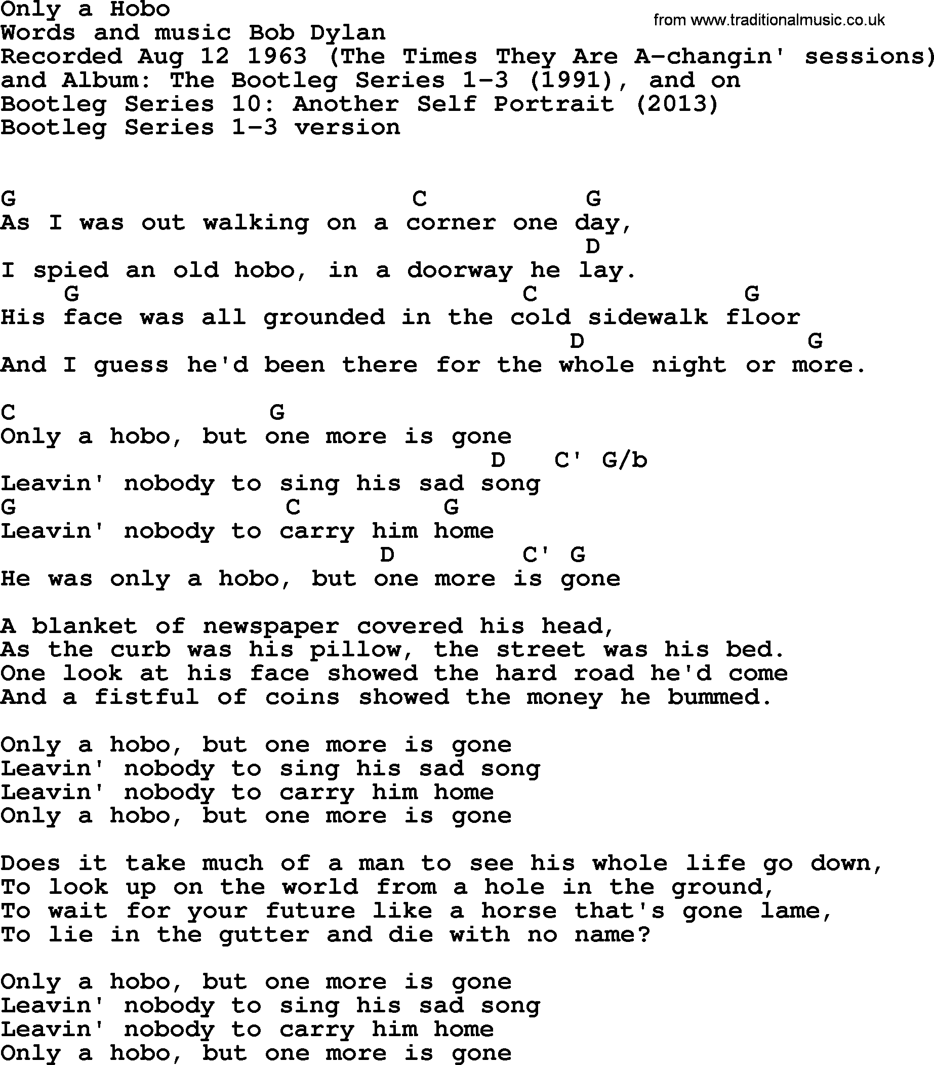 Bob Dylan Song Only A Hobo Lyrics And Chords