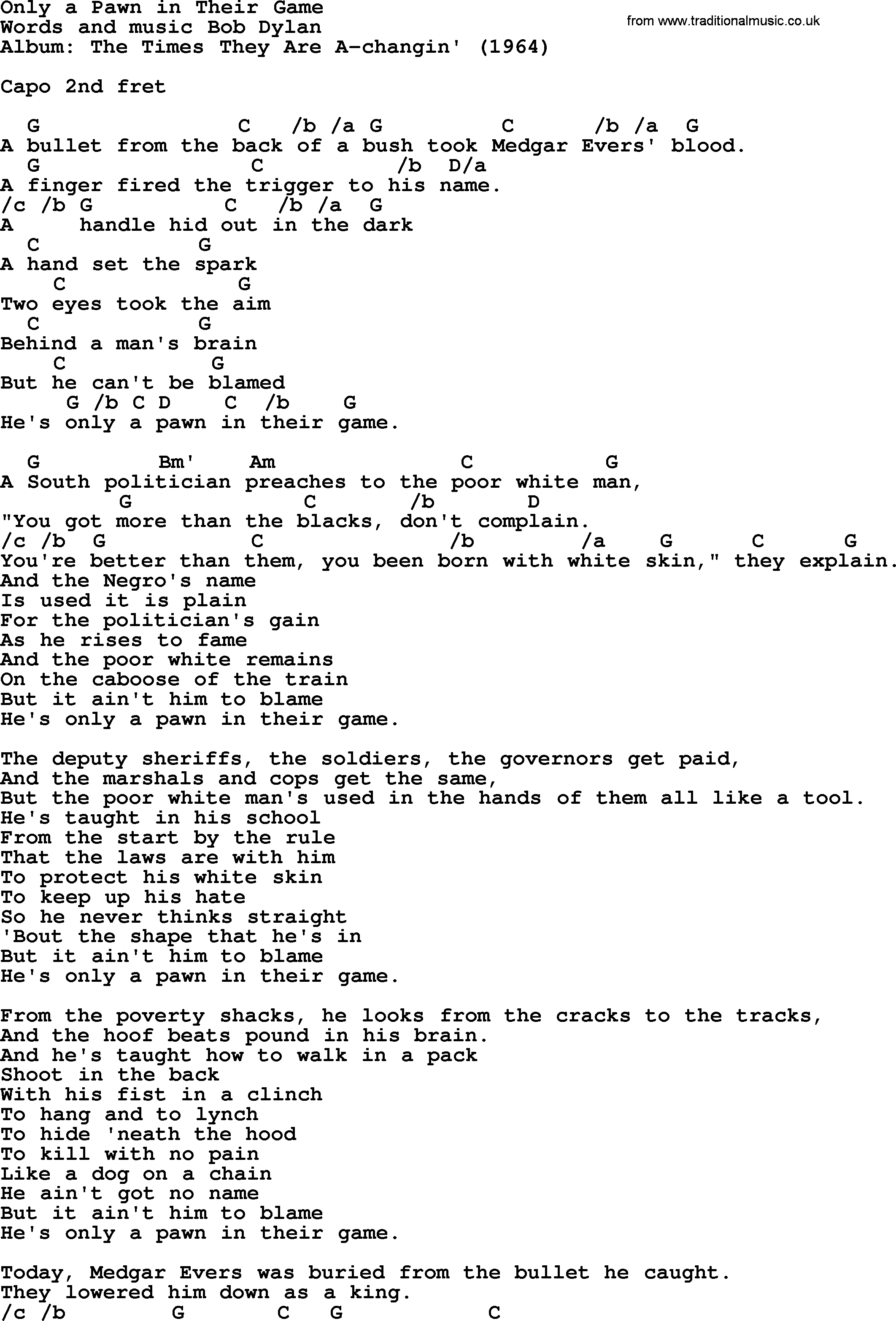 Bob dylan song only a pawn in their game lyrics and chords bob dylan song lyrics with chords only a pawn in their game hexwebz Images