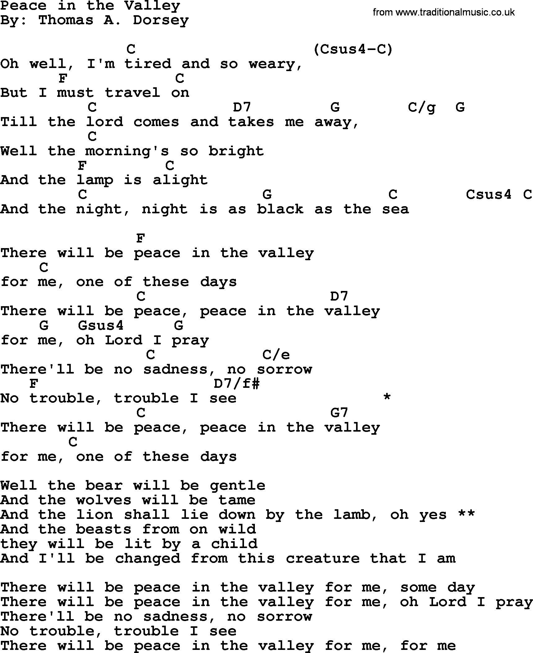 Peace in the valley song lyrics