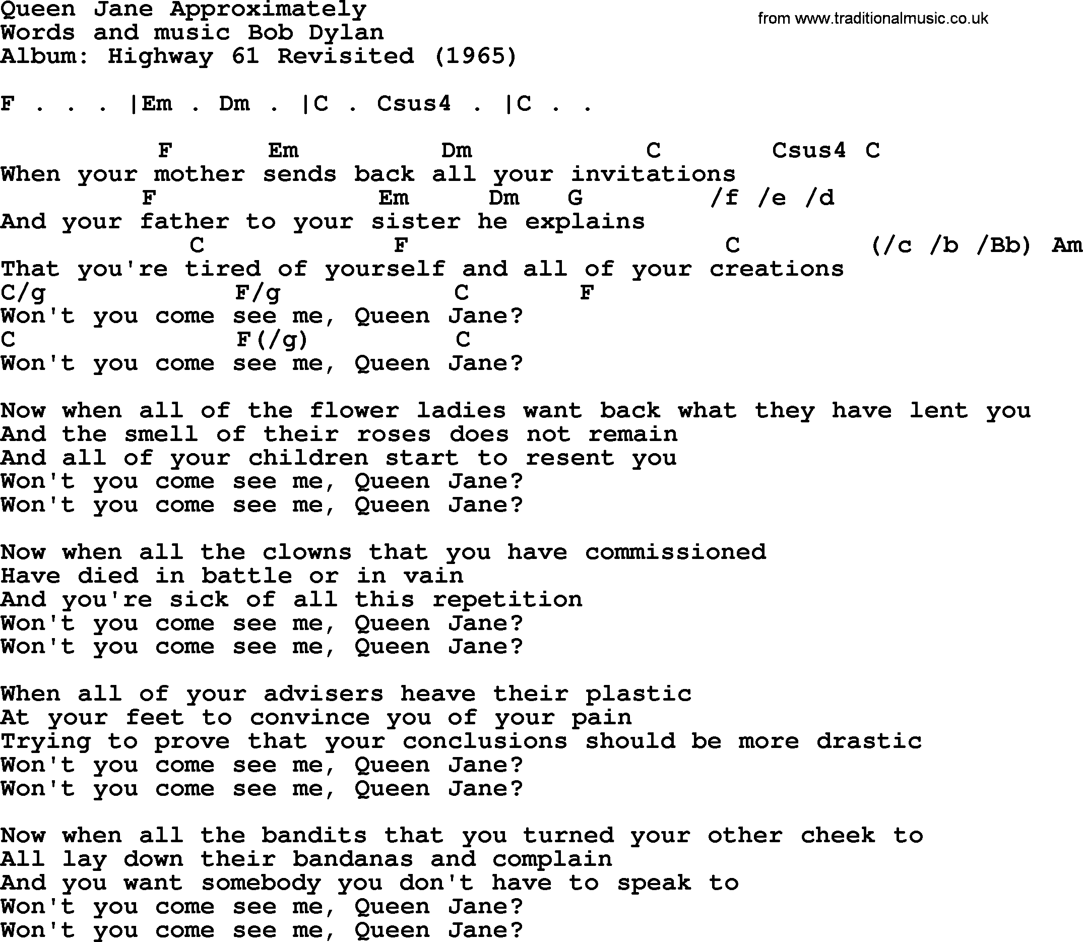 Bob Dylan Song Queen Jane Approximately Lyrics And Chords