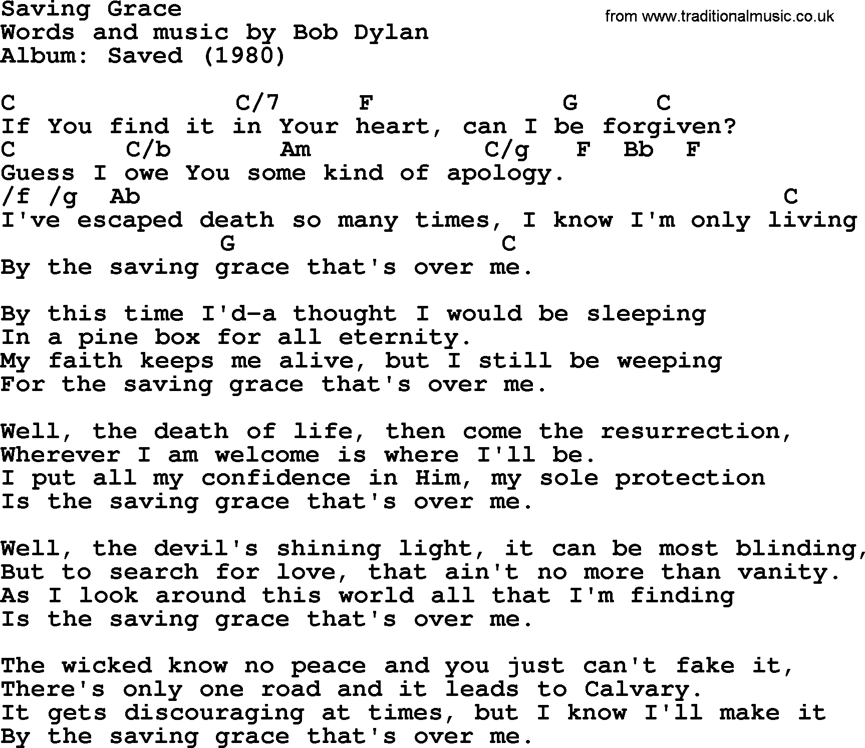Bob Dylan Song Saving Grace Lyrics And Chords