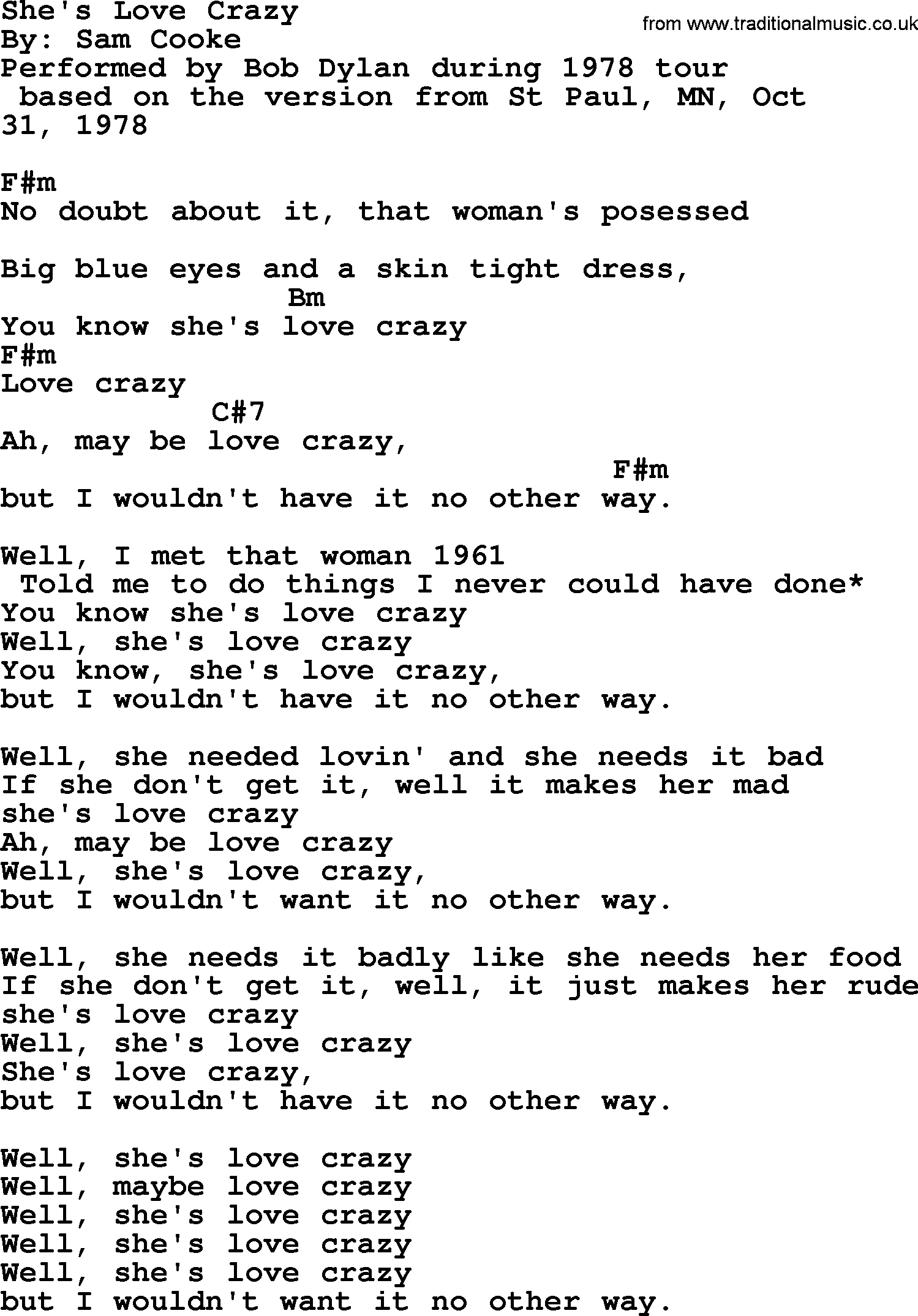 Bob dylan song shes love crazy lyrics and chords bob dylan song lyrics with chords shes love crazy hexwebz Choice Image