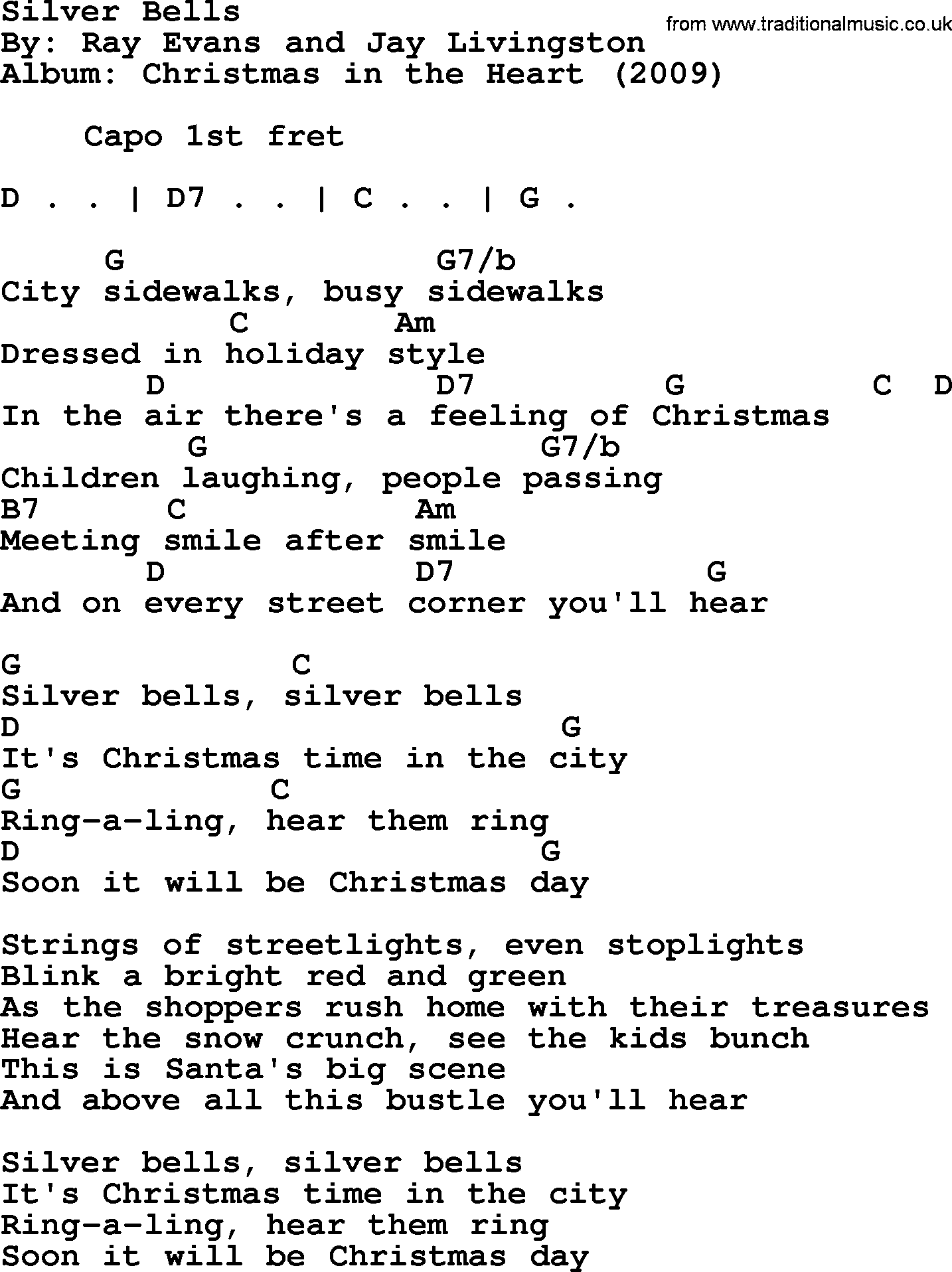 Bob Dylan song - Silver Bells, lyrics and chords