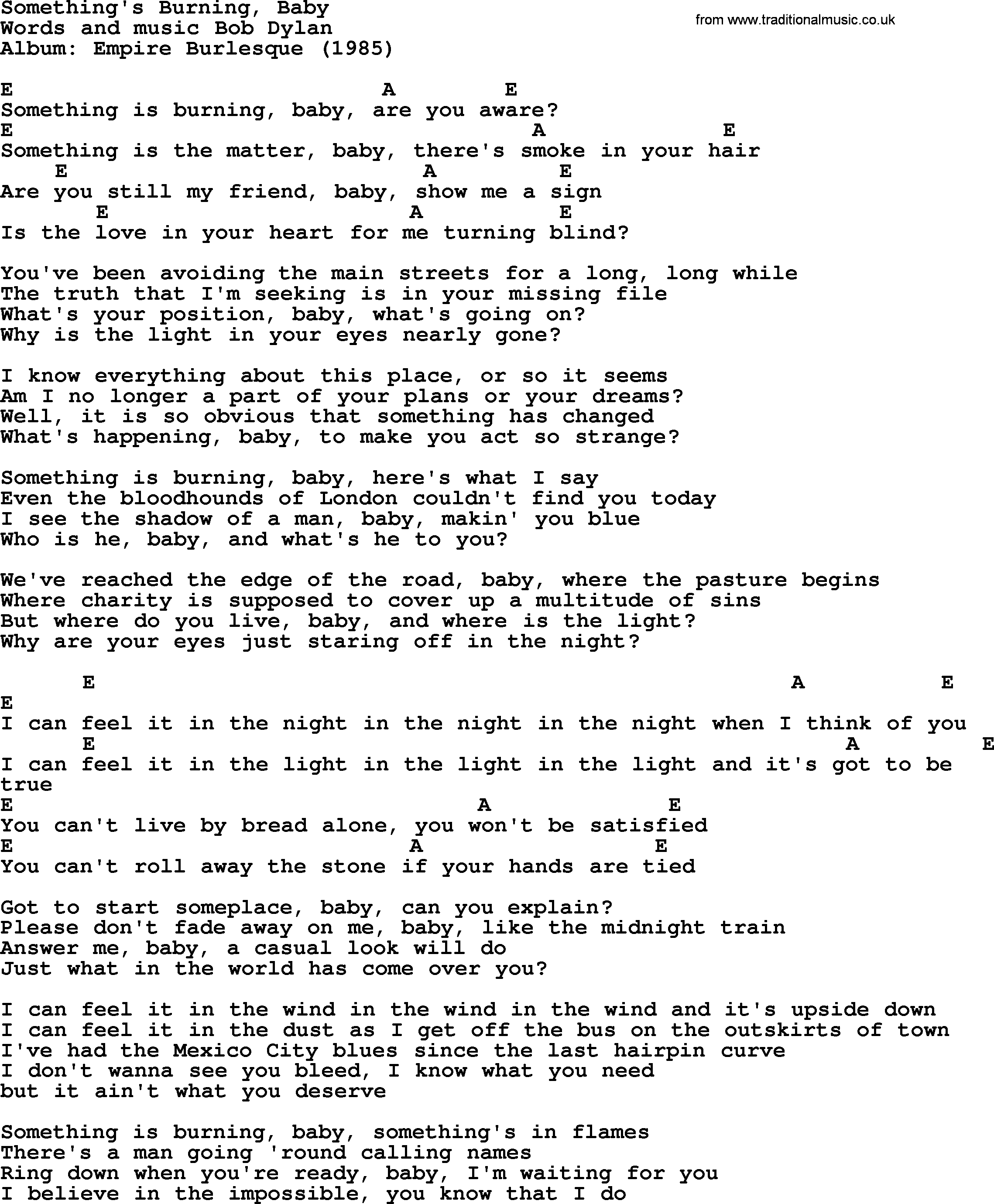 Bob dylan song somethings burning baby lyrics and chords bob dylan song lyrics with chords somethings burning baby hexwebz Image collections