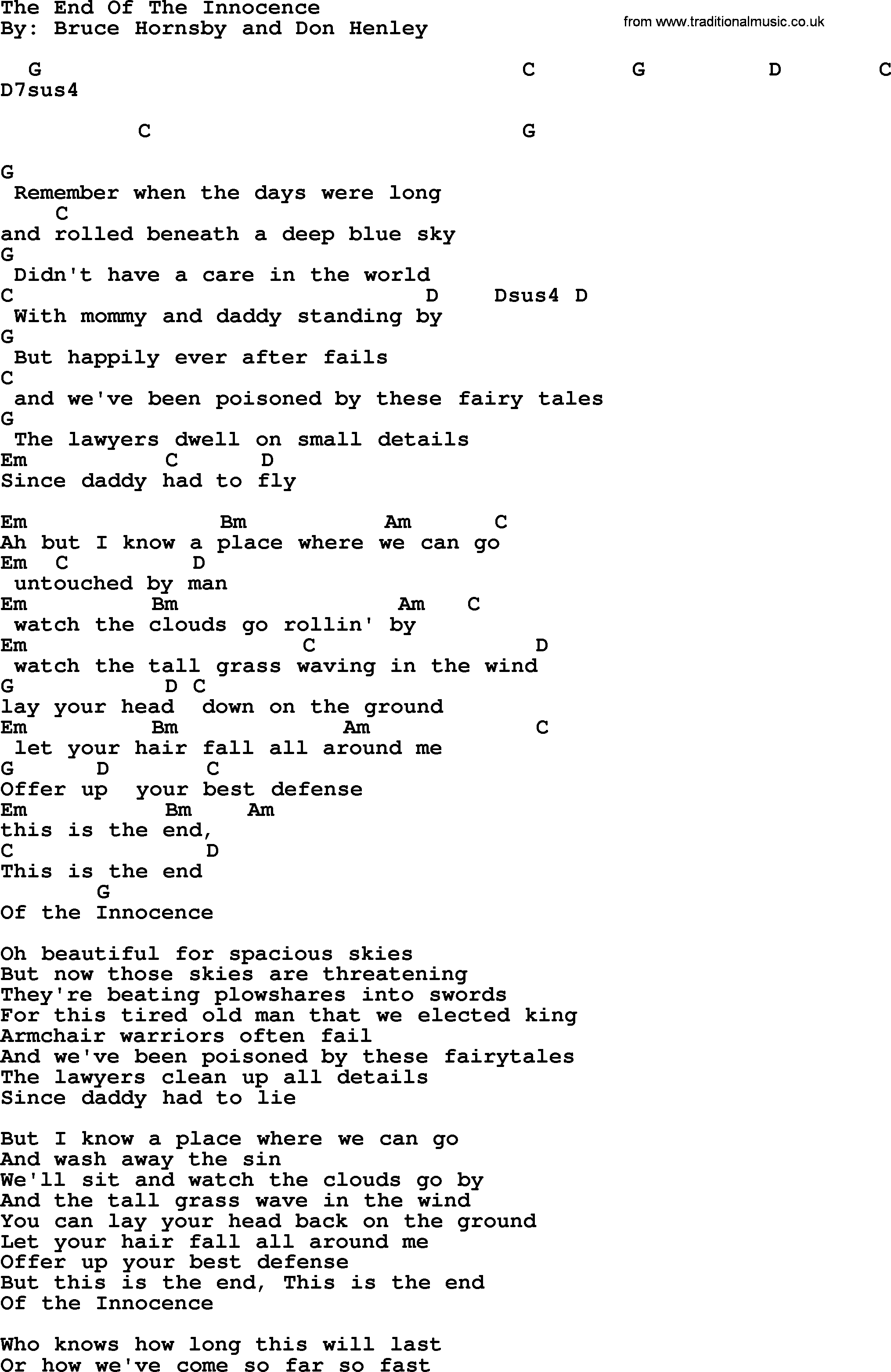 Bob Dylan song - The End Of The Innocence, lyrics and chords