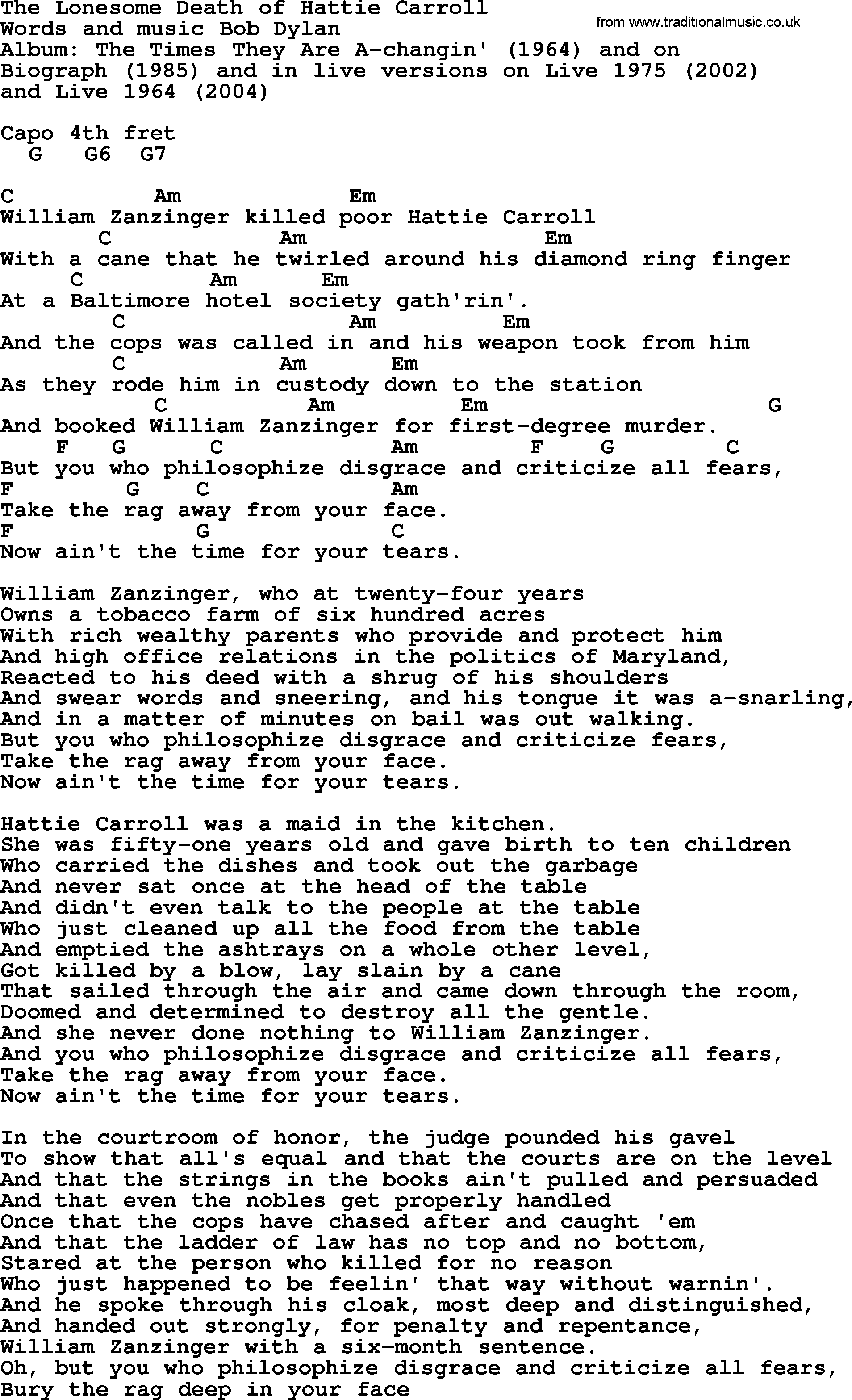 Bob dylan song the lonesome death of hattie carroll lyrics and bob dylan song lyrics with chords the lonesome death of hattie carroll hexwebz Images