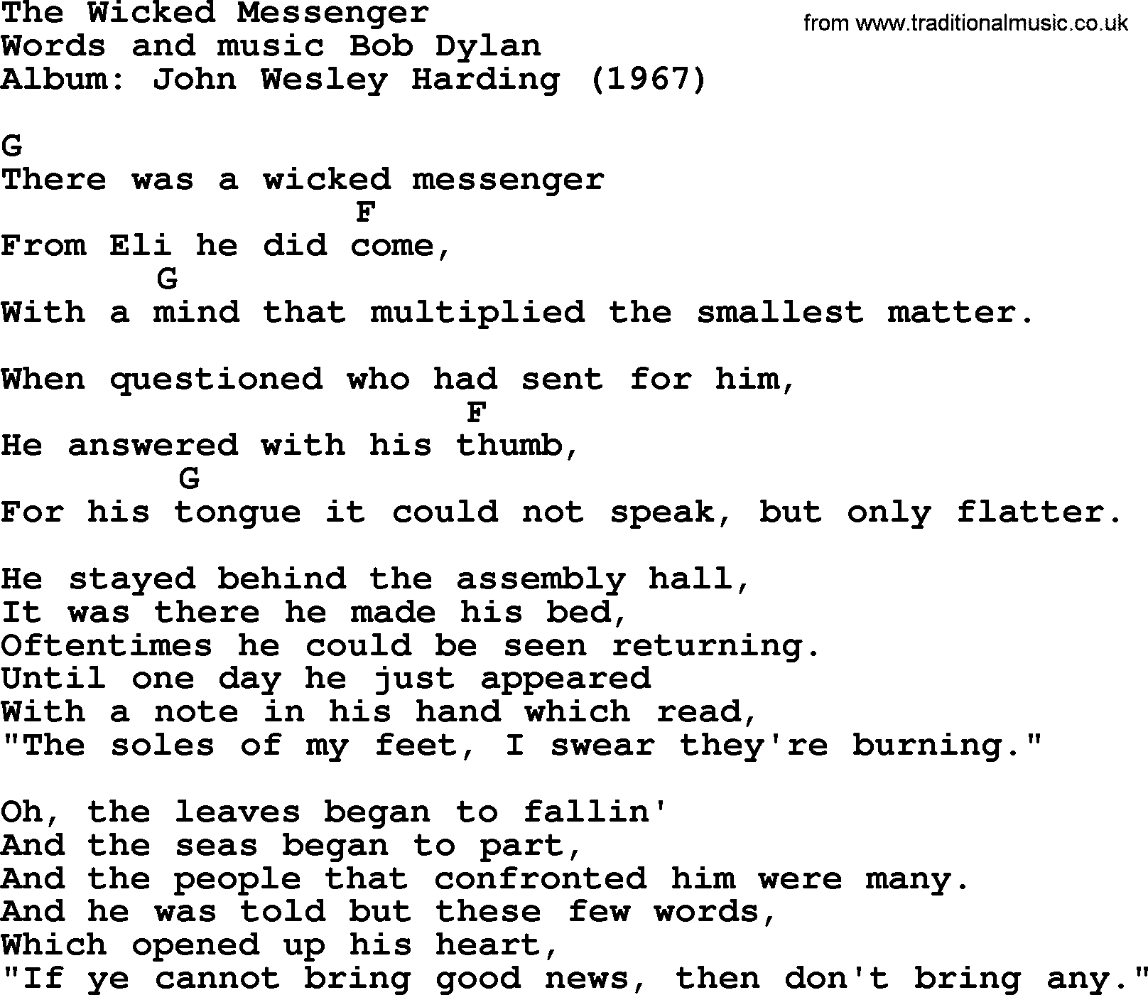 Bob Dylan Song The Wicked Messenger Lyrics And Chords