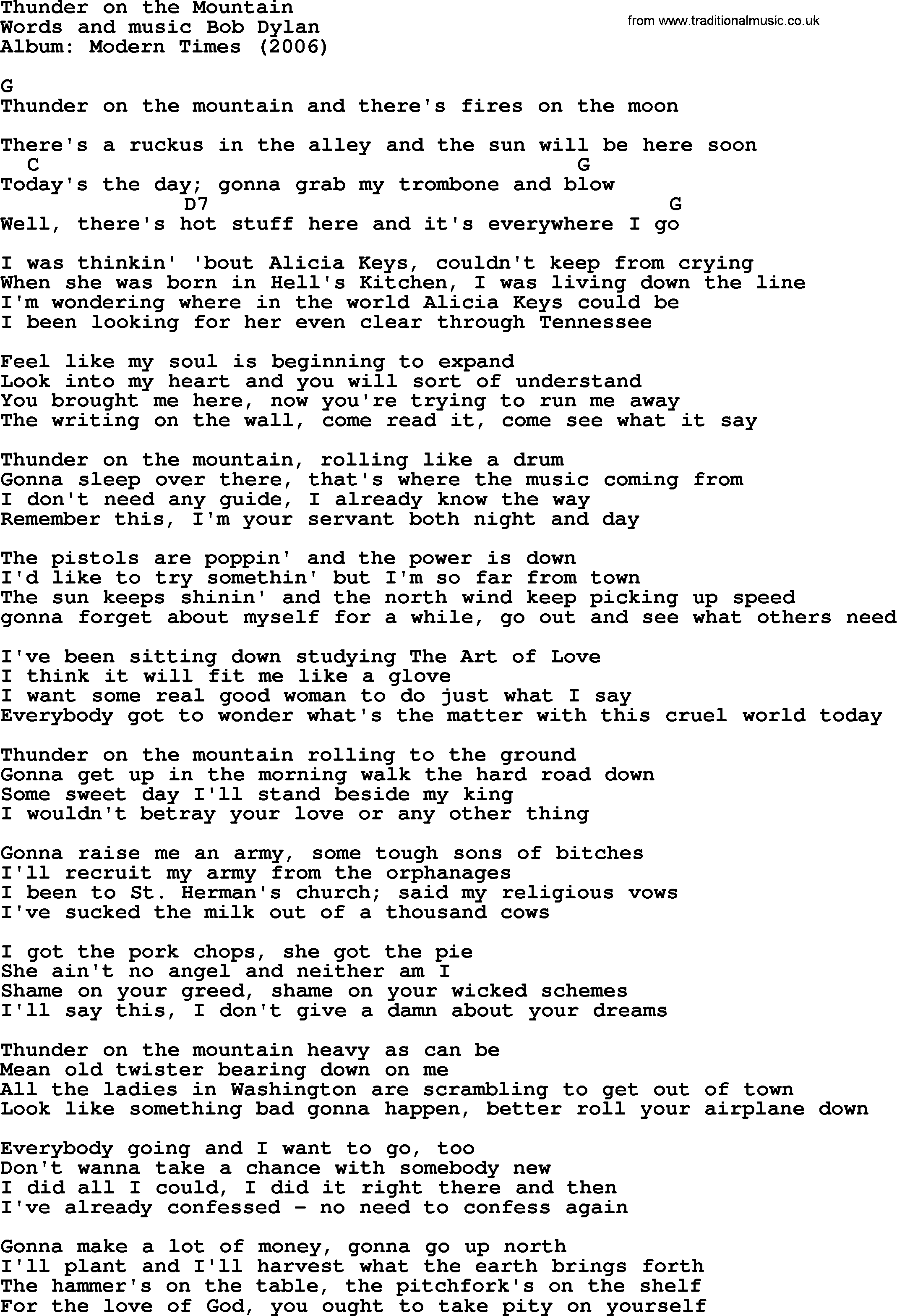 Bob Dylan Song Thunder On The Mountain Lyrics And Chords