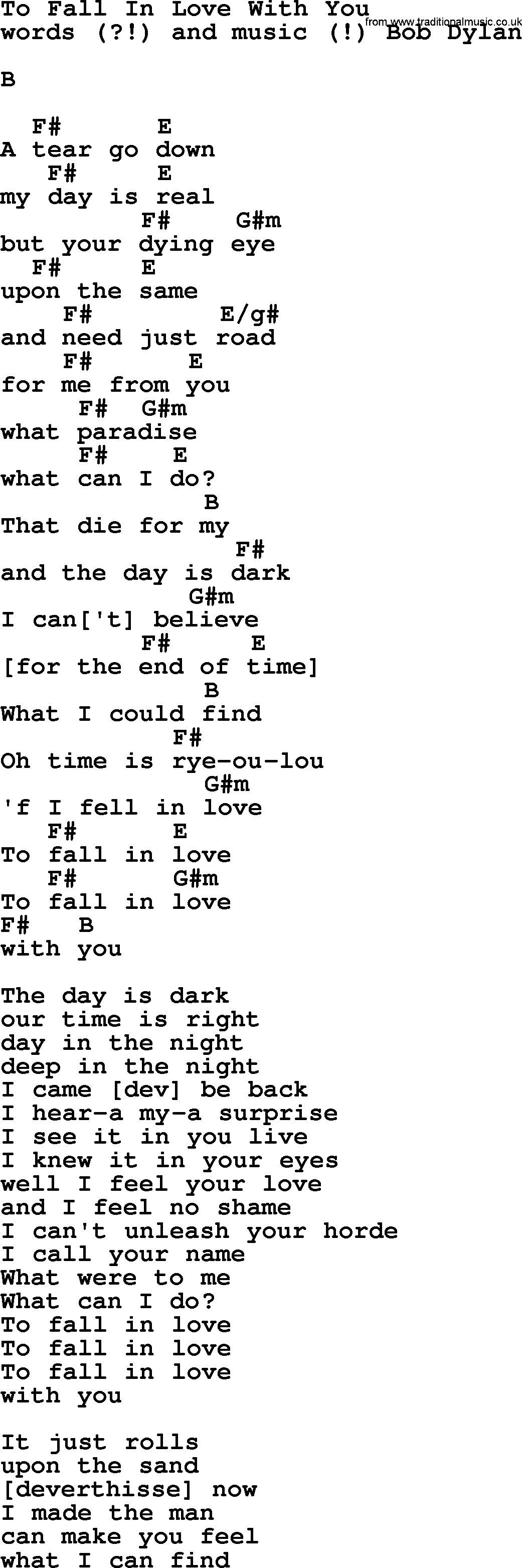 Bob dylan song to fall in love with you lyrics and chords bob dylan song lyrics with chords to fall in love with you hexwebz Image collections