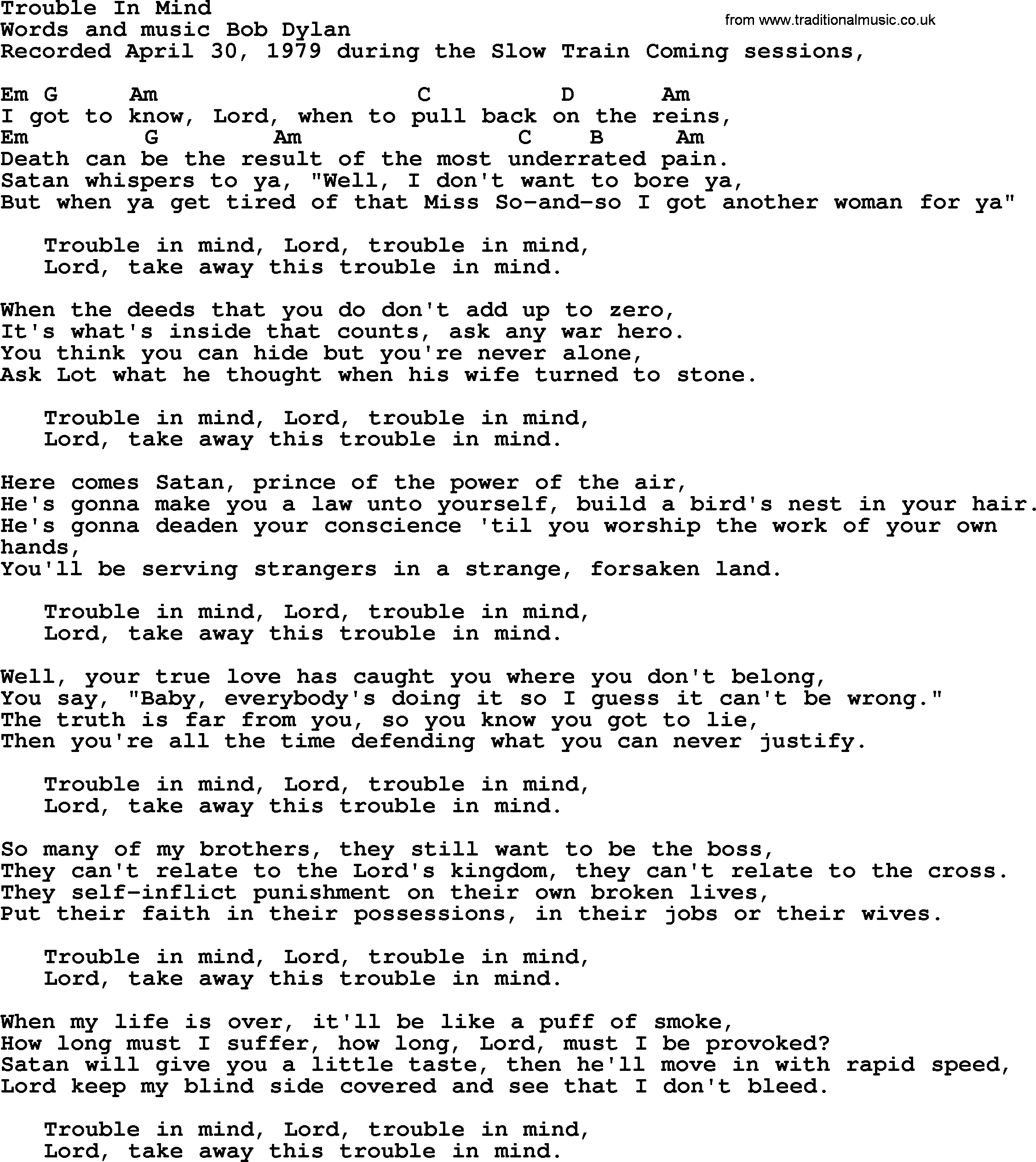 Bob Dylan Song Trouble In Mind Lyrics And Chords