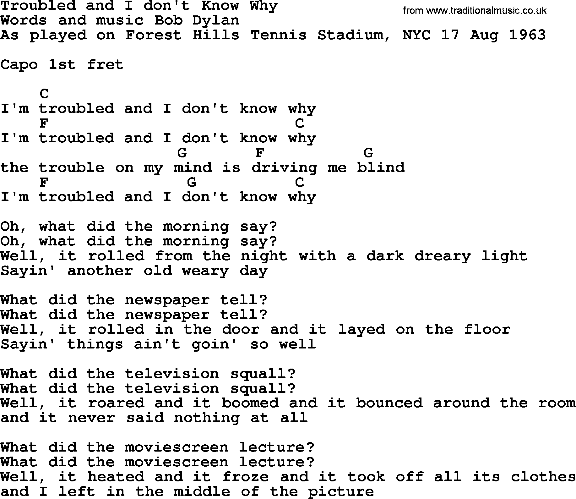 Bob dylan song troubled and i dont know why lyrics and chords bob dylan song lyrics with chords troubled and i dont know why hexwebz Image collections