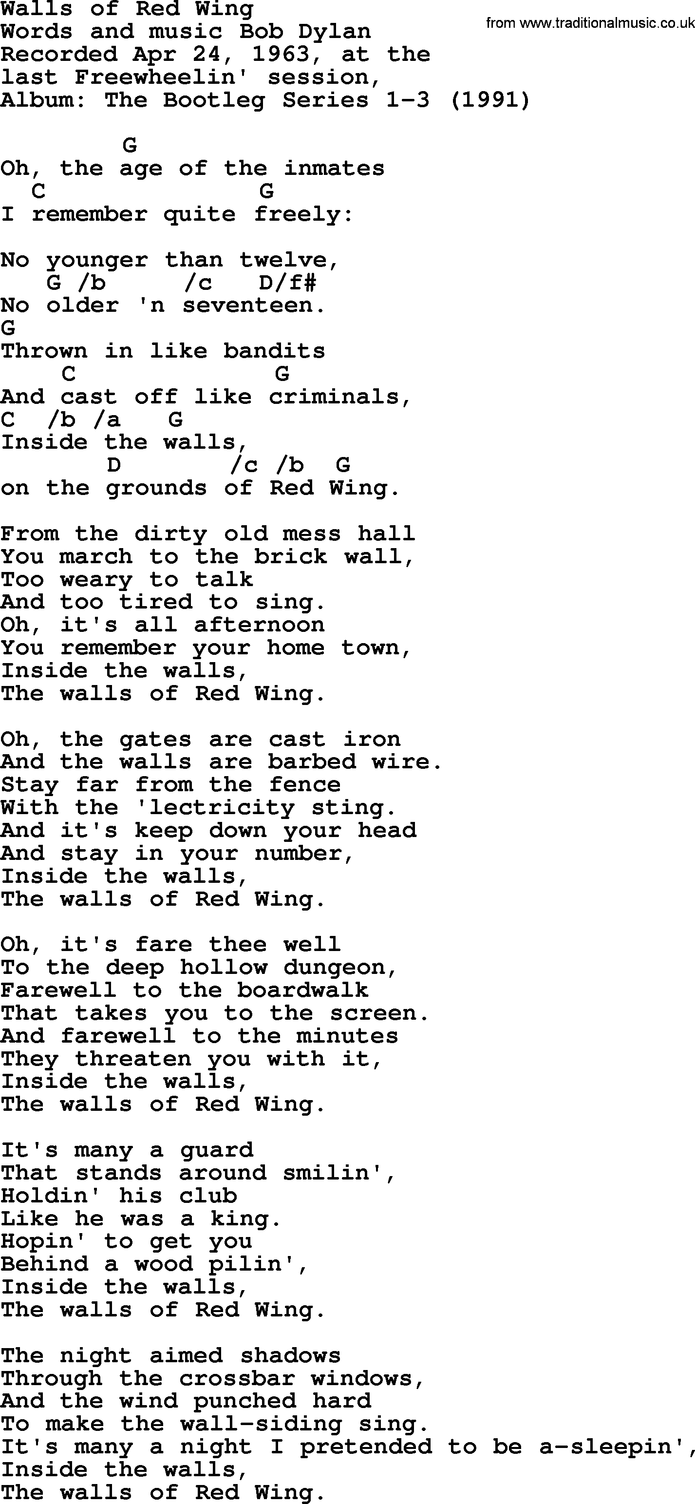 Bob dylan song walls of red wing lyrics and chords bob dylan song lyrics with chords walls of red wing hexwebz Image collections