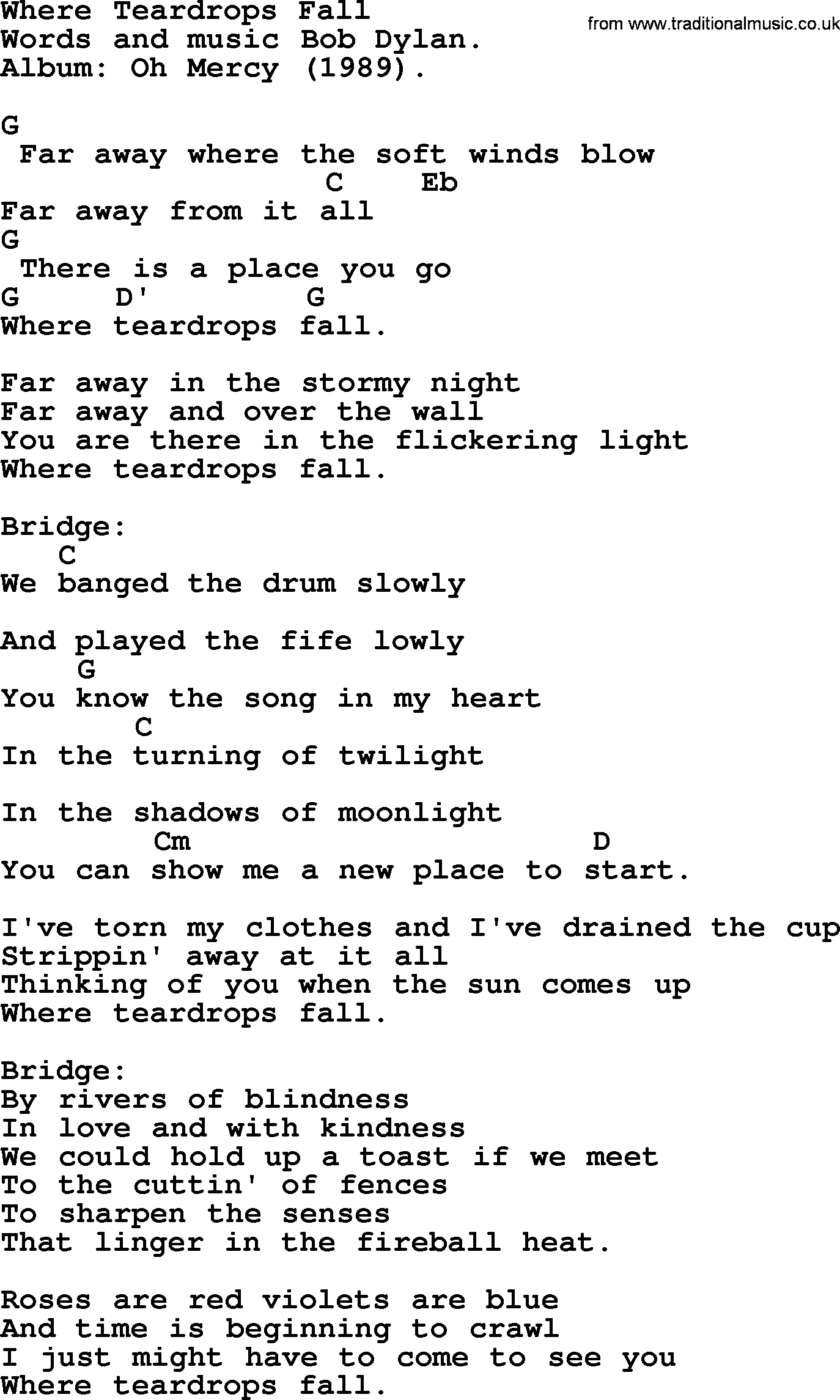 Bob Dylan Song Where Teardrops Fall Lyrics And Chords