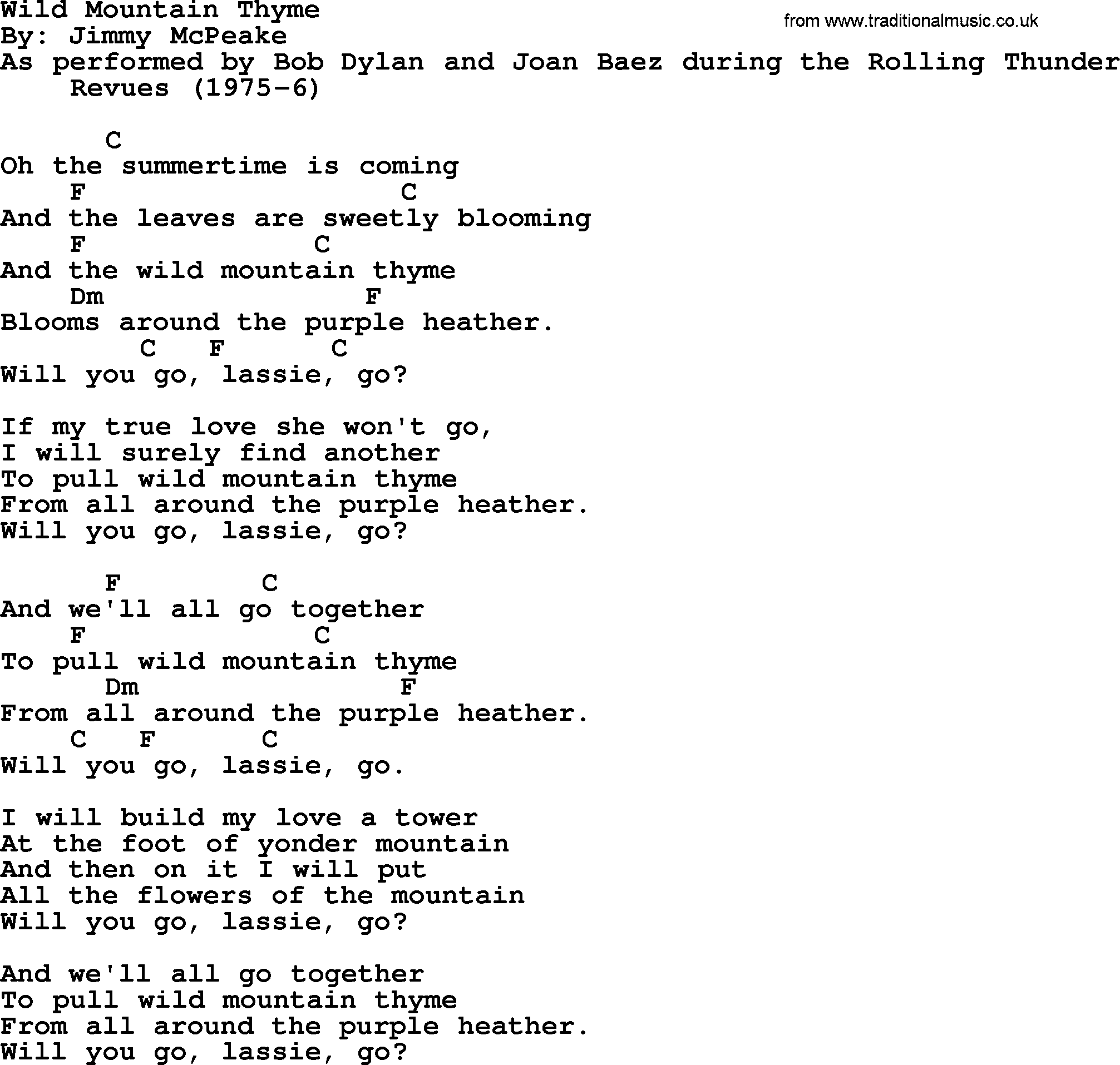 James Taylor - Wild Mountain Thyme Lyrics | MetroLyrics