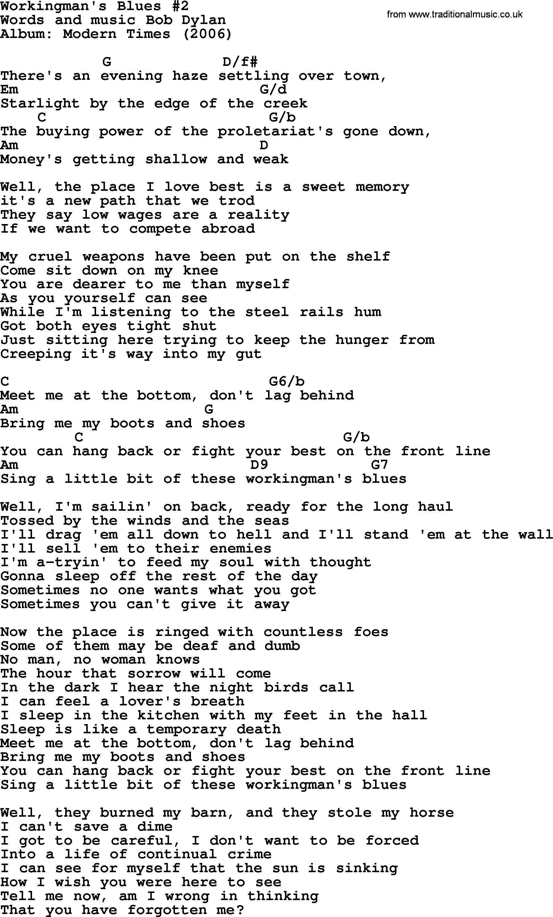 Bob dylan song workingmans blues 2 lyrics and chords bob dylan song lyrics with chords workingmans blues 2 hexwebz Image collections