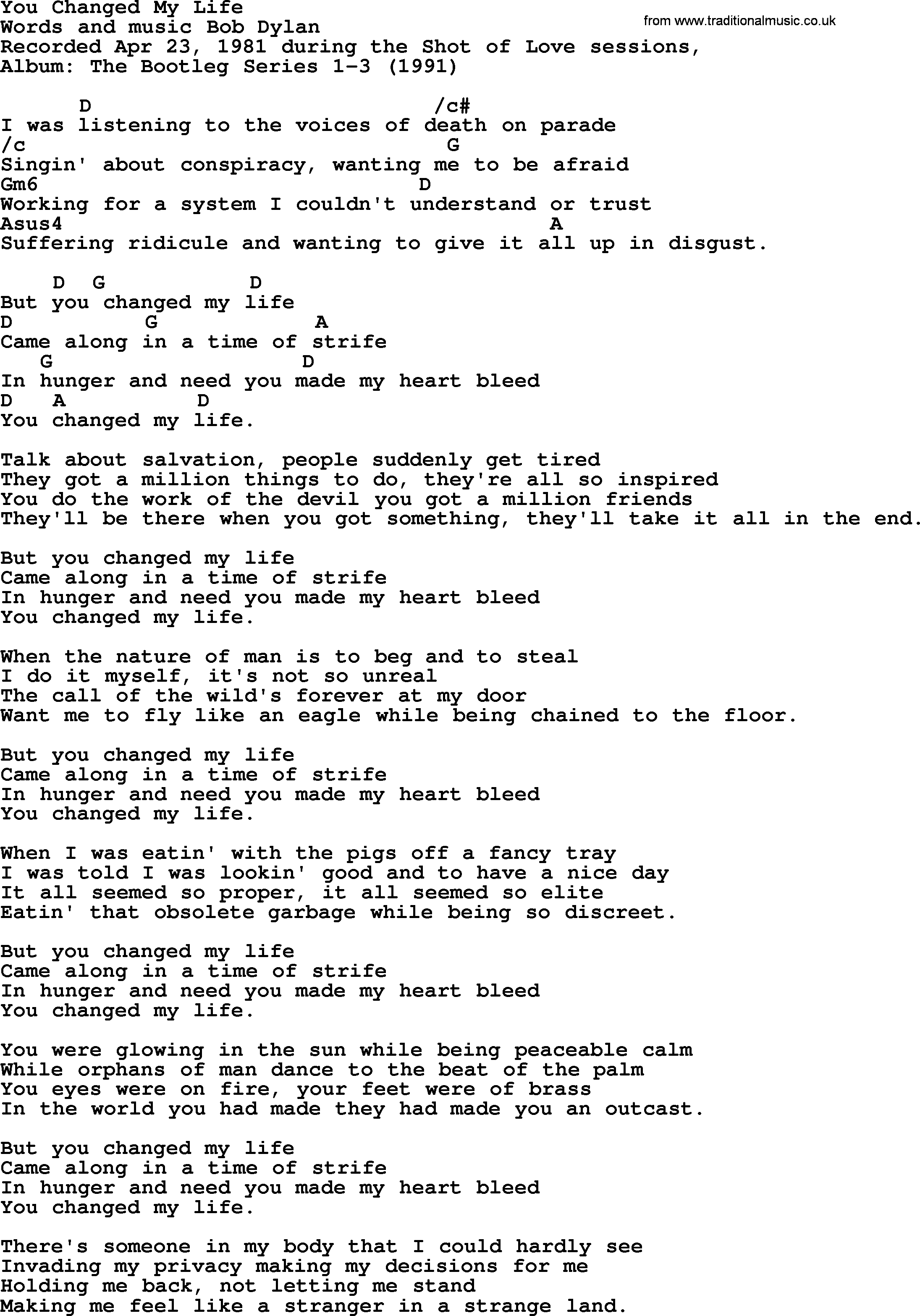 Bob Dylan song - You Changed My Life, lyrics and chords