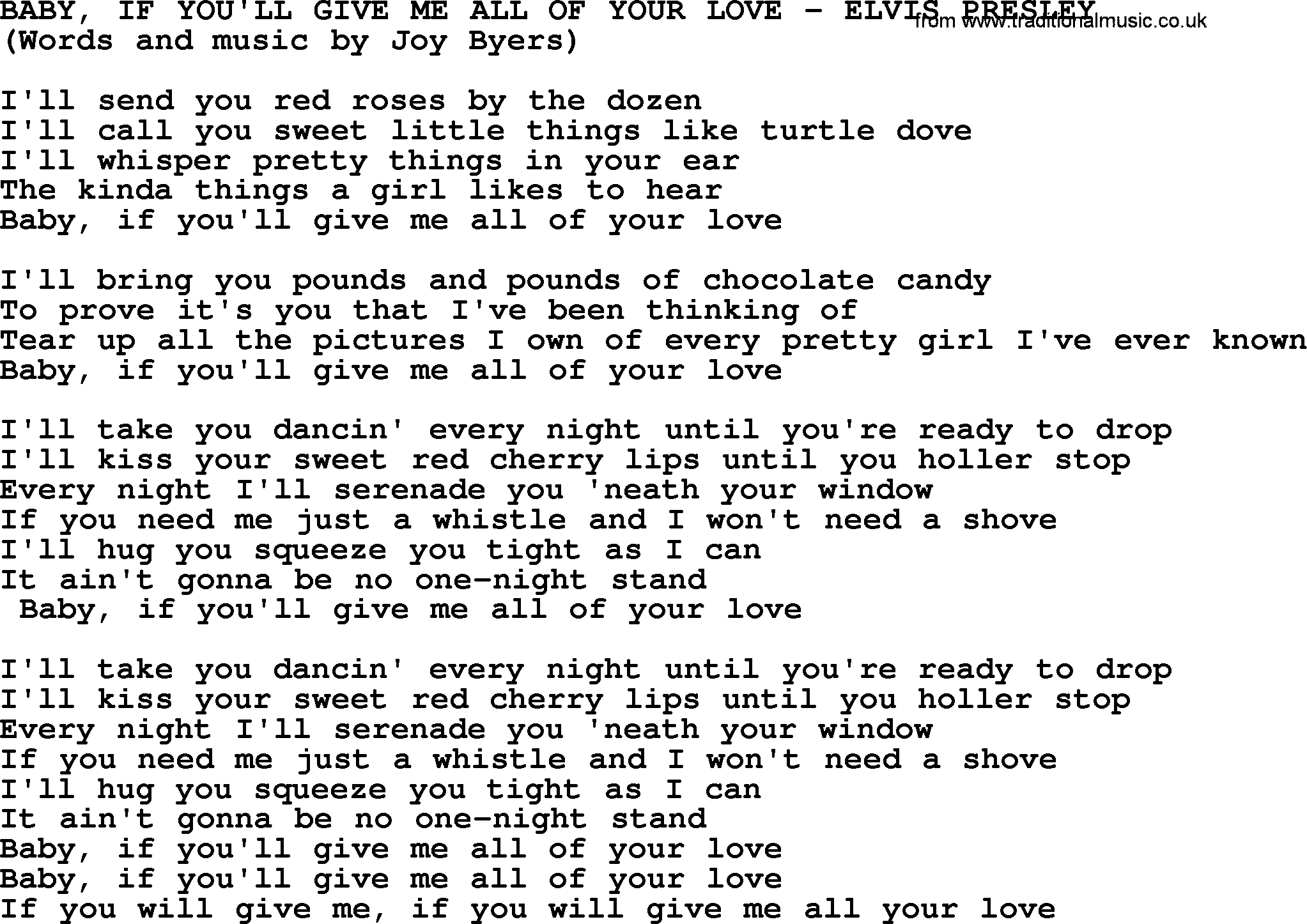 Baby If Youll Give Me All Of Your Love By Elvis Presley Lyrics