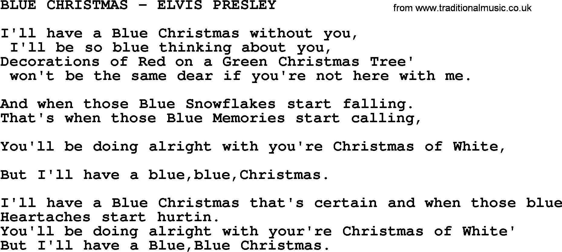 elvis presley song blue christmas elvis presley txt lyrics and chords - I Ll Have A Blue Christmas Lyrics