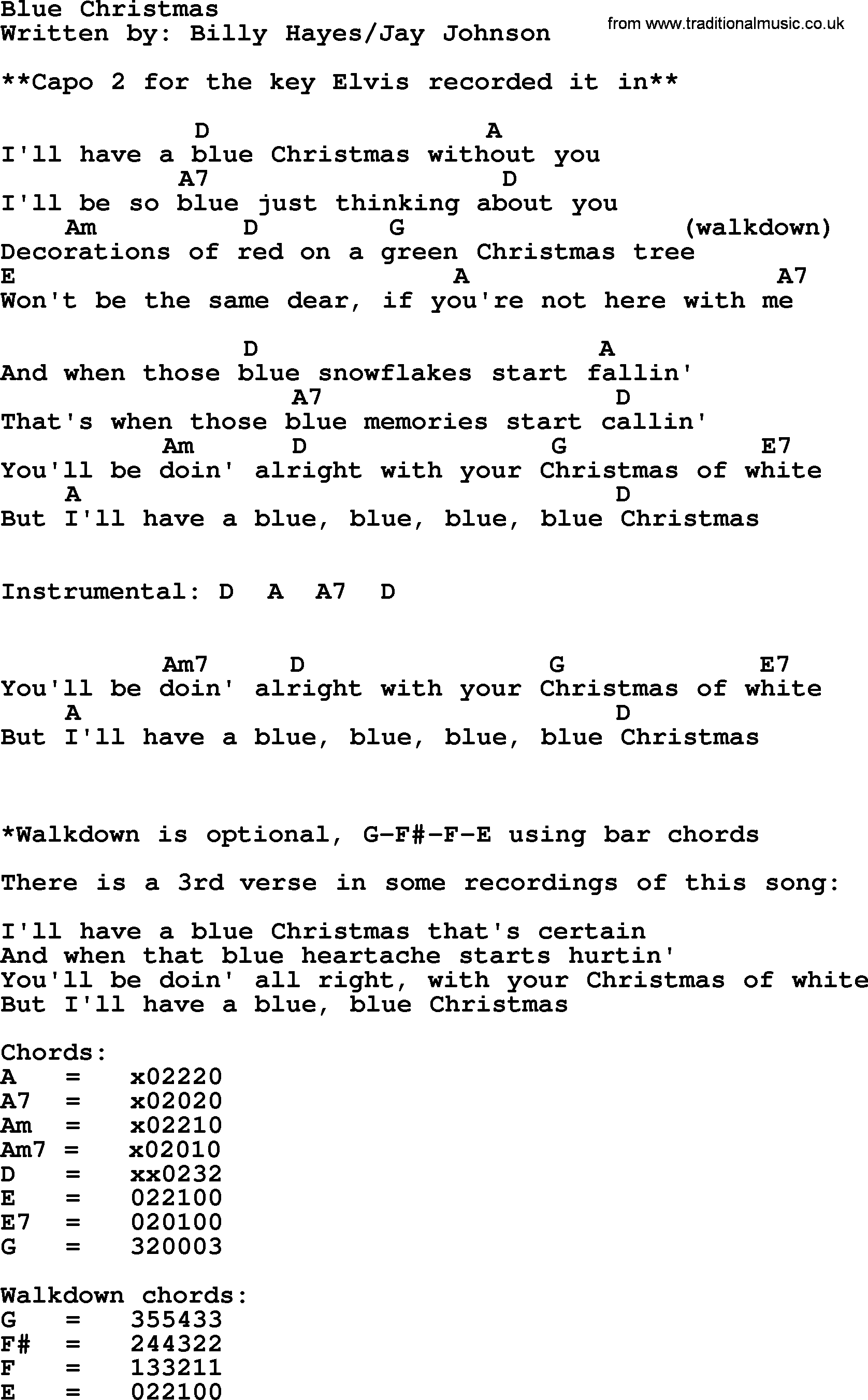 Blue Christmas, by Elvis Presley - lyrics and chords