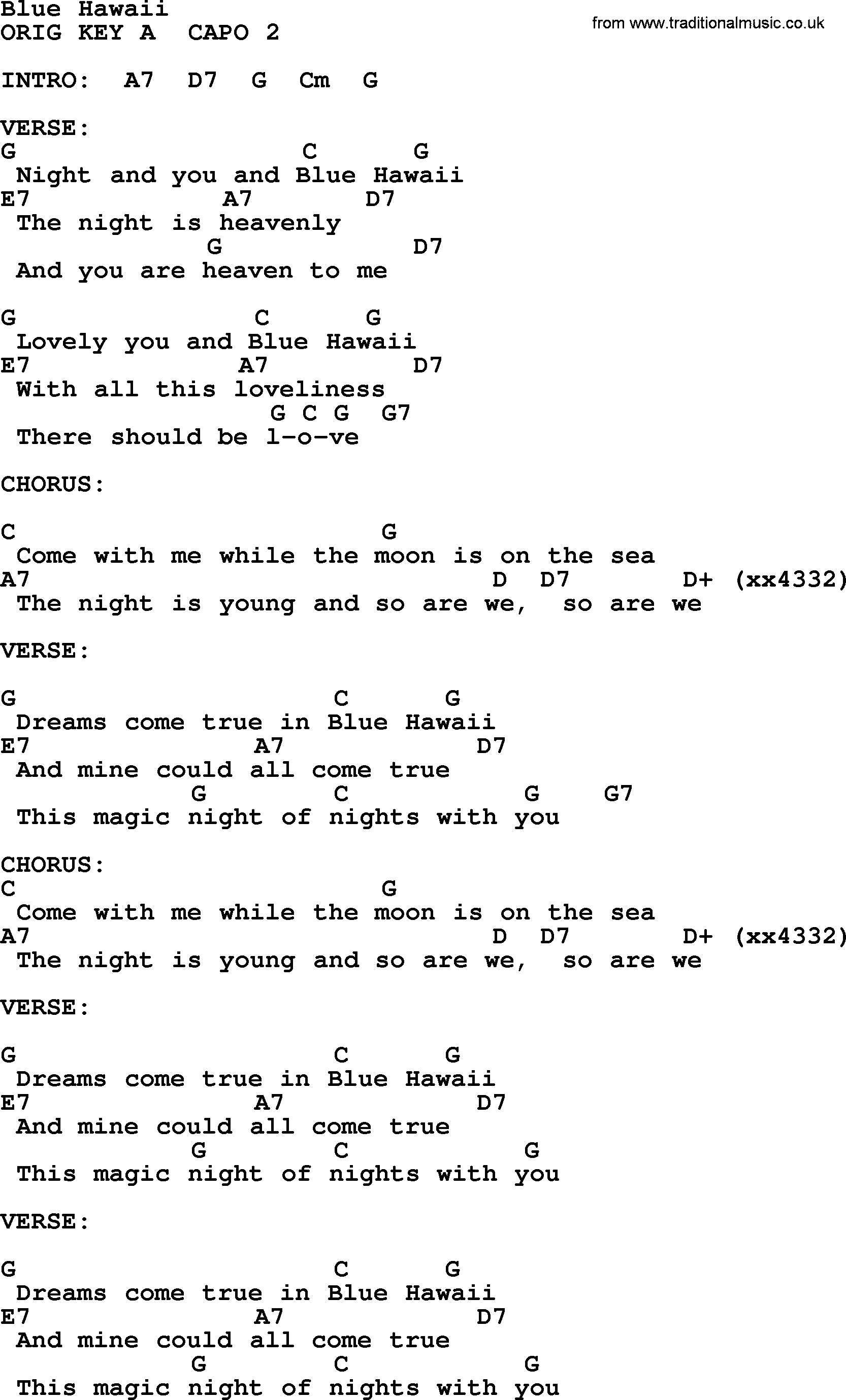 Blue Hawaii By Elvis Presley Lyrics And Chords