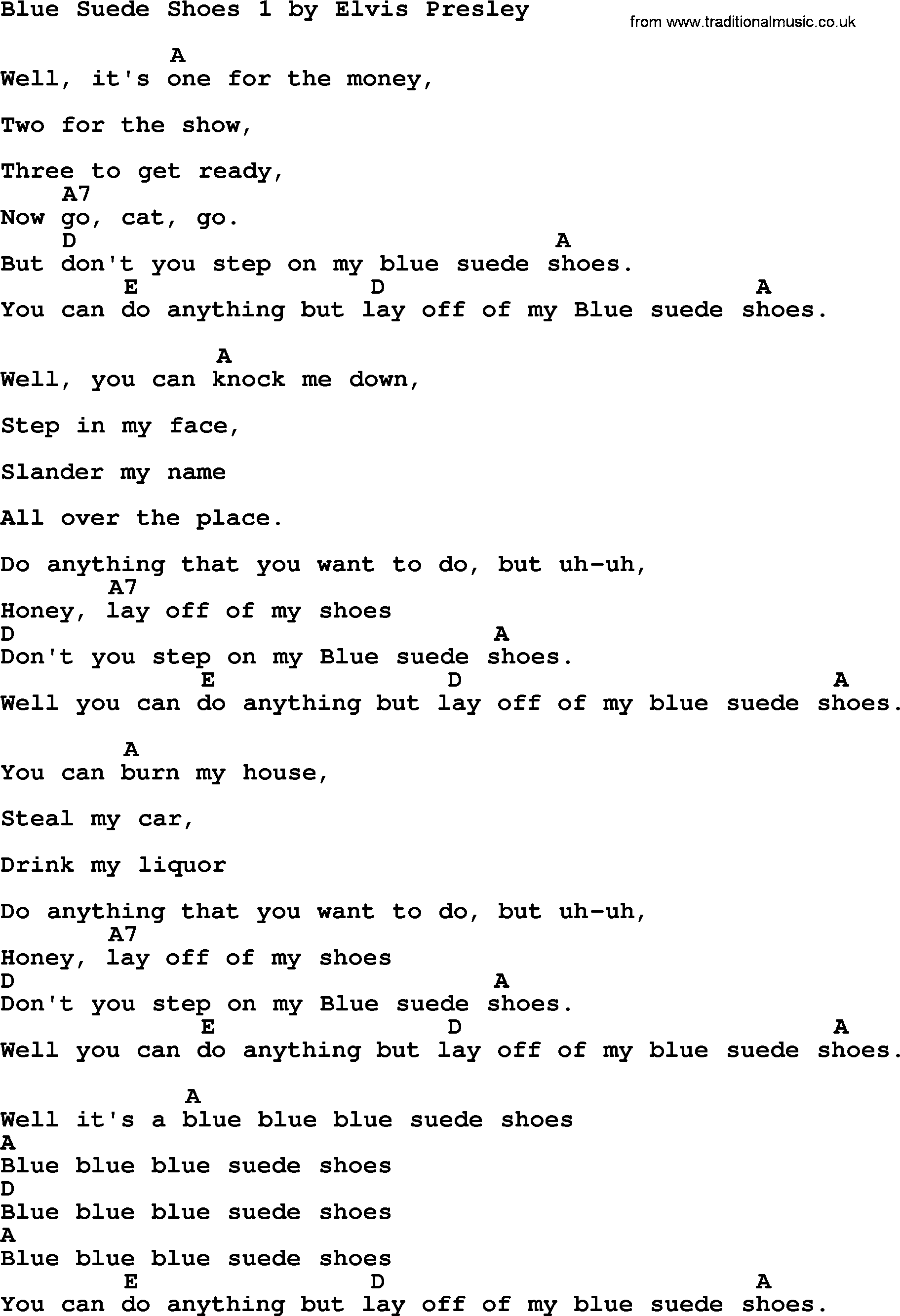 Blue Suede Shoes Lyrics And Chords