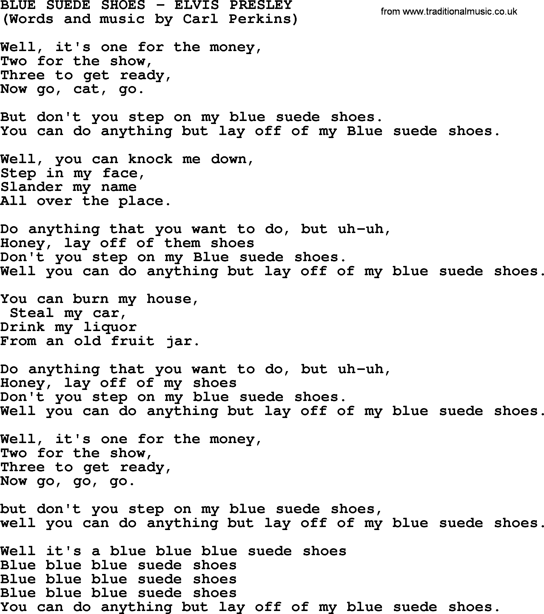 Blue Suede Shoes Song Meaning