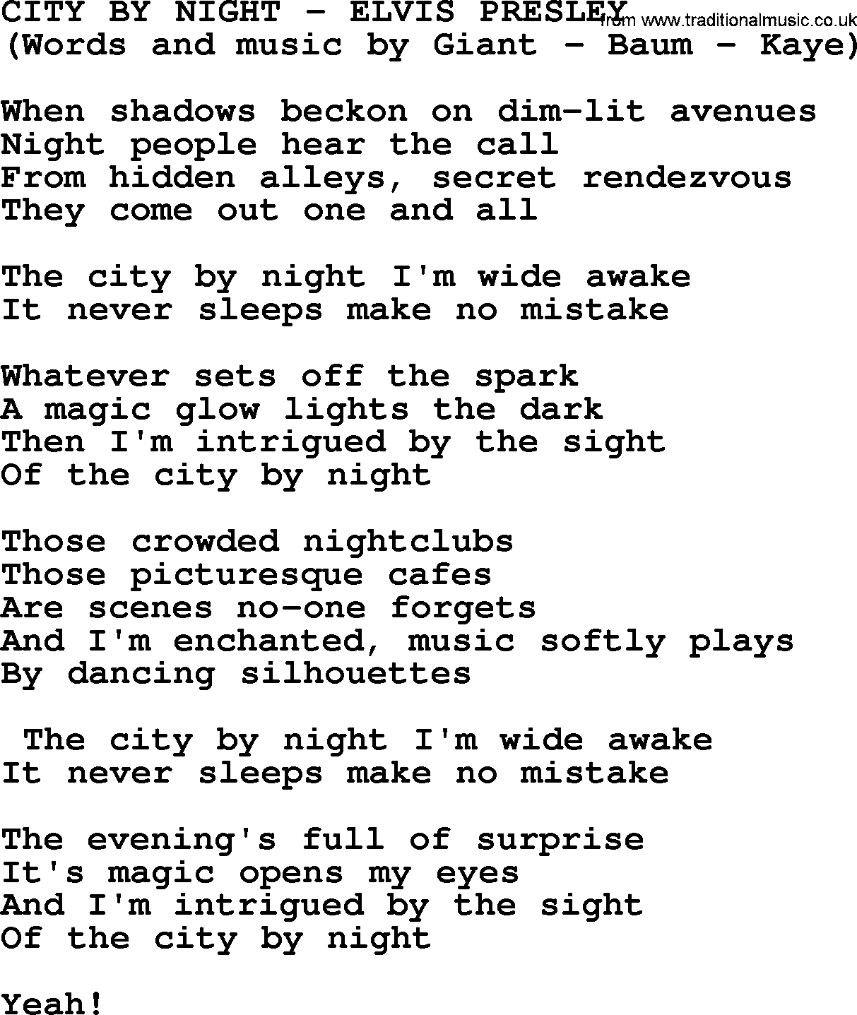 City By Night By Elvis Presley