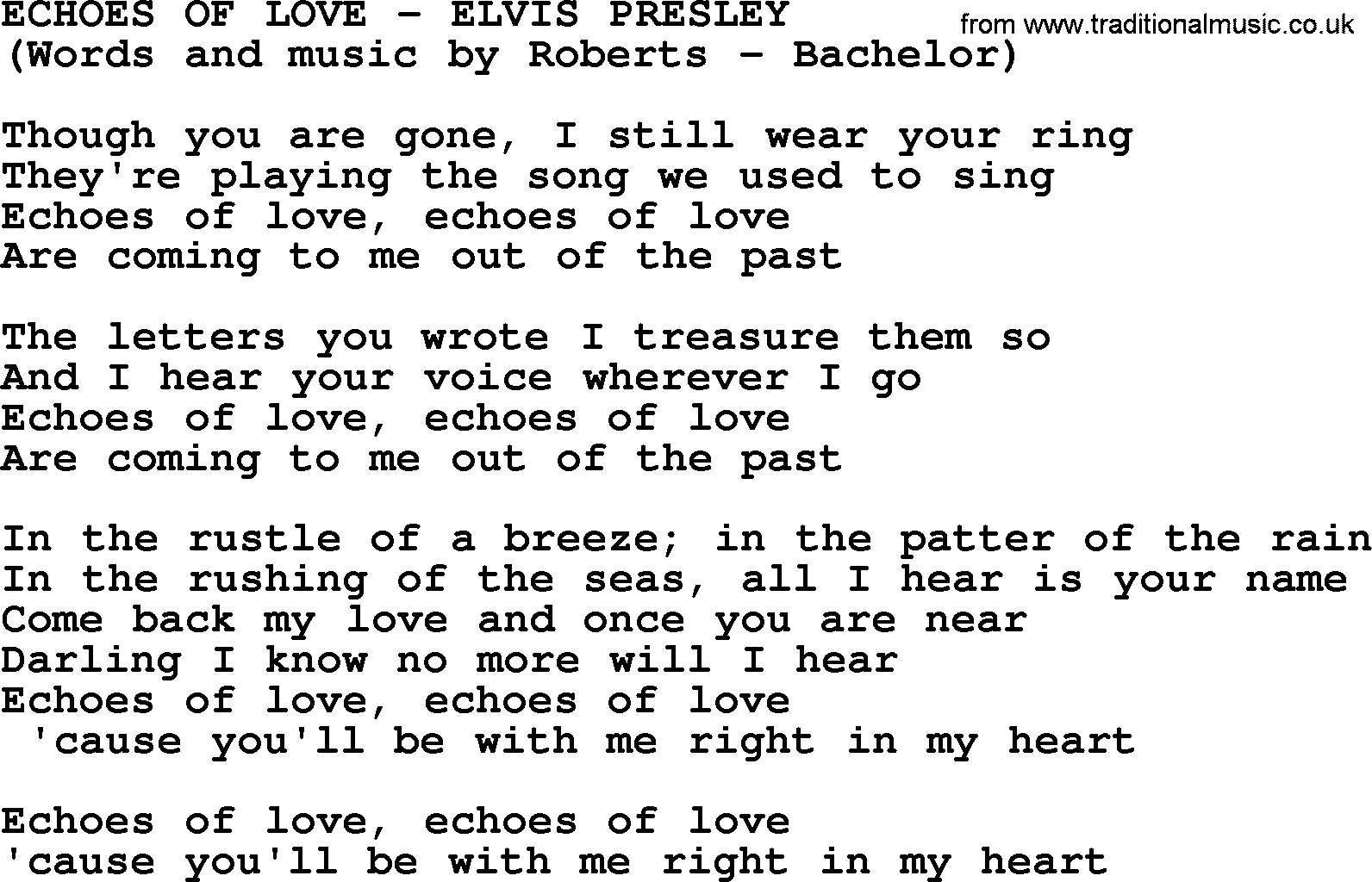 Echoes of love by elvis presley lyrics elvis presley song echoes of love lyrics hexwebz Images