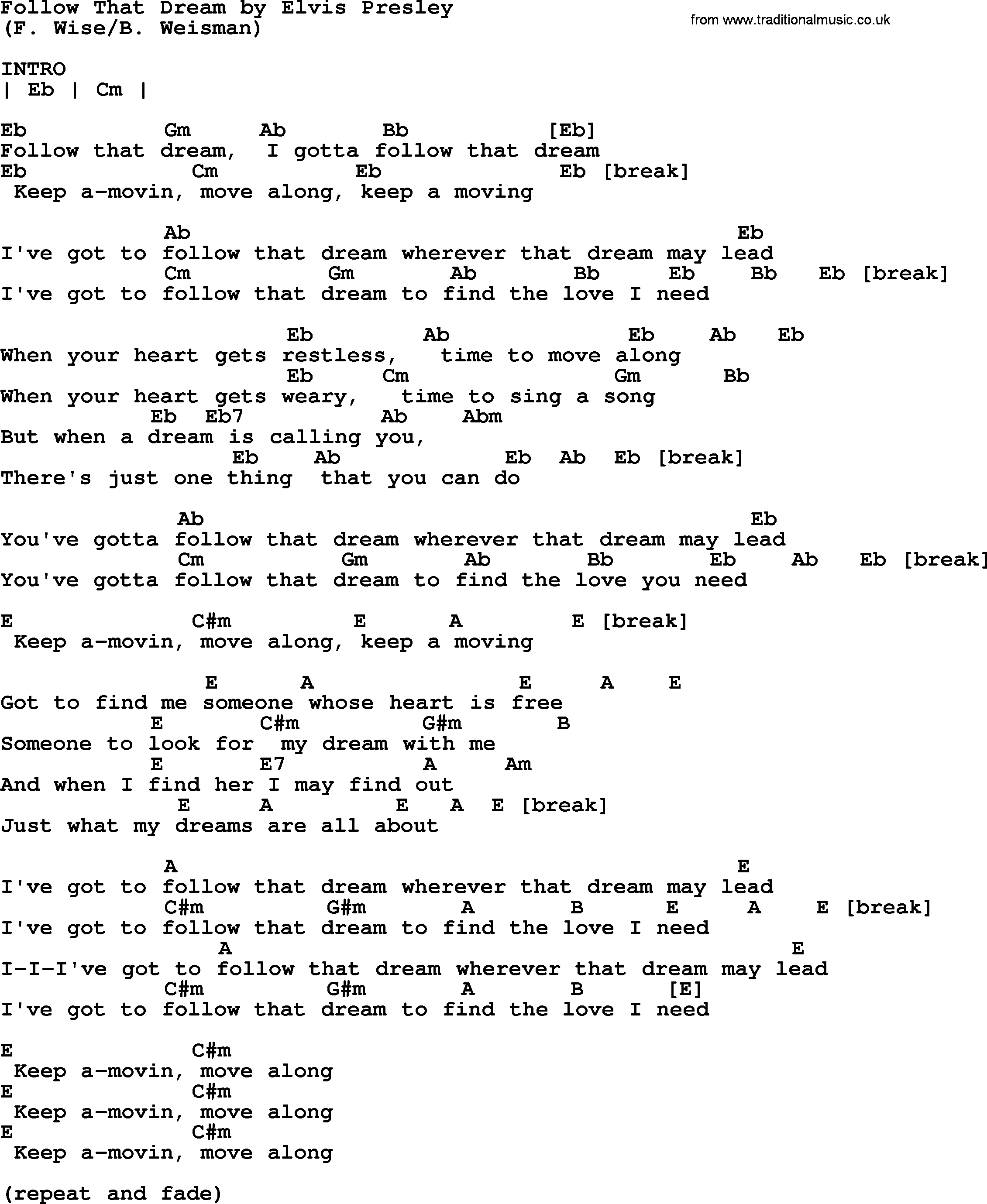 Follow That Dream By Elvis Presley Lyrics And Chords