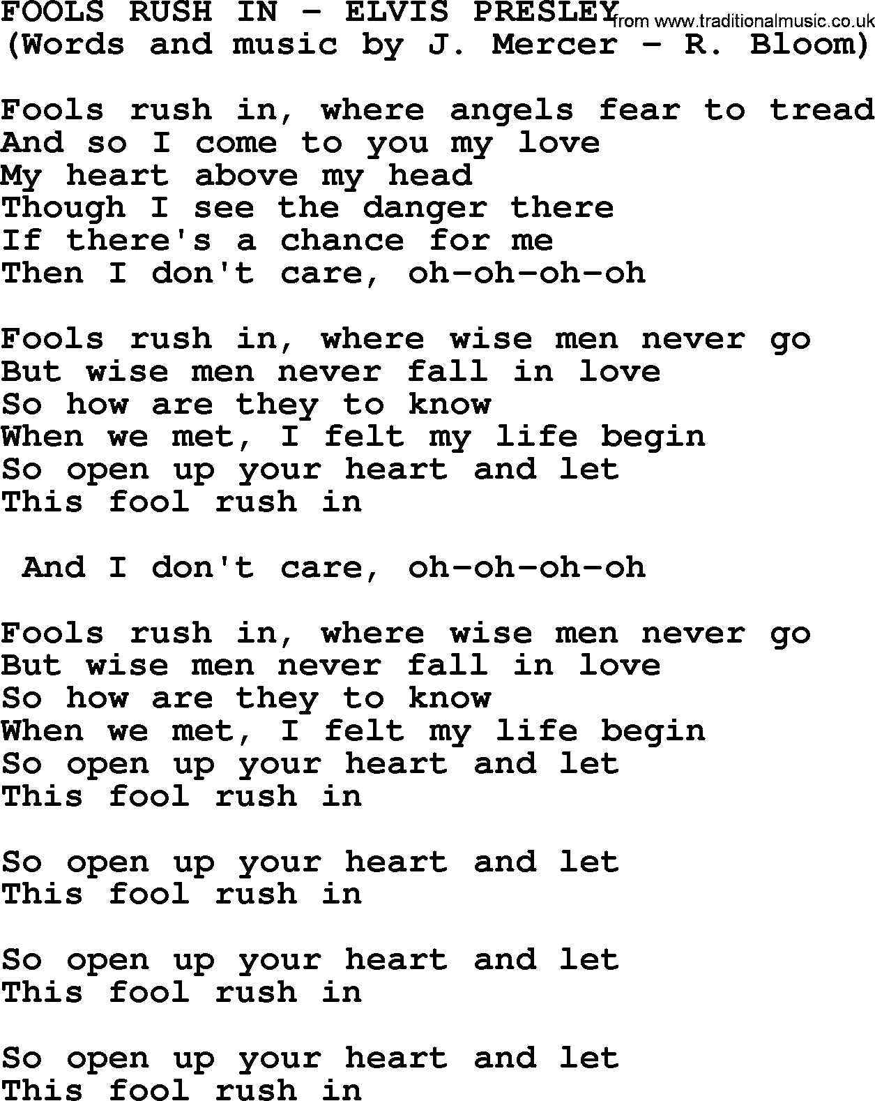 7 Rules Of Life Quote Fools Rush Inelvis Presley  Lyrics