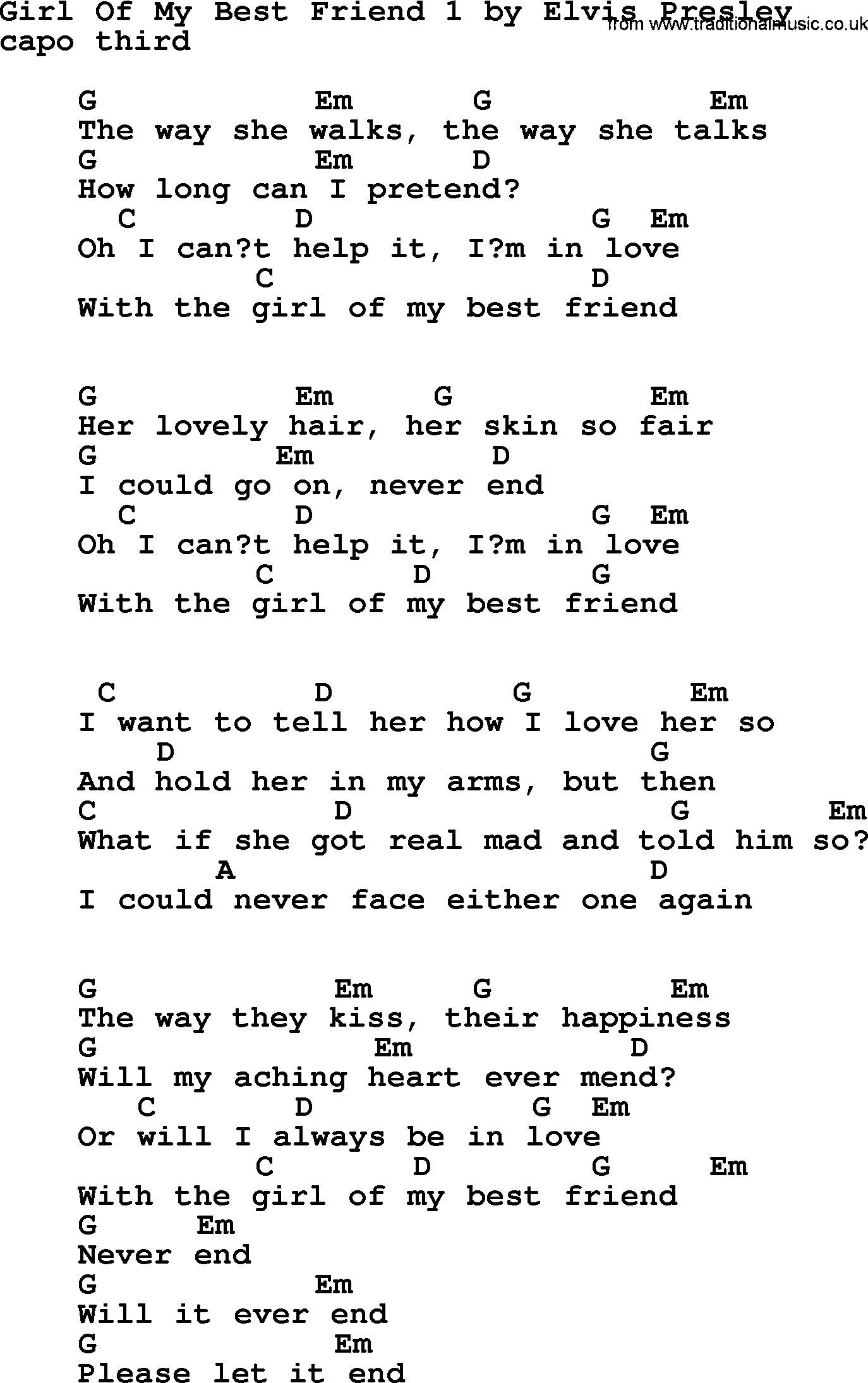 Girl Of My Best Friend 1 By Elvis Presley Lyrics And Chords
