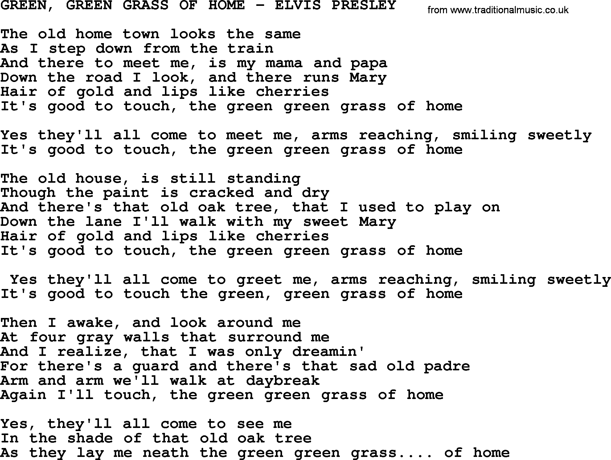 Green, Green Grass Of Home-Elvis Presley-.txt, by Elvis ...