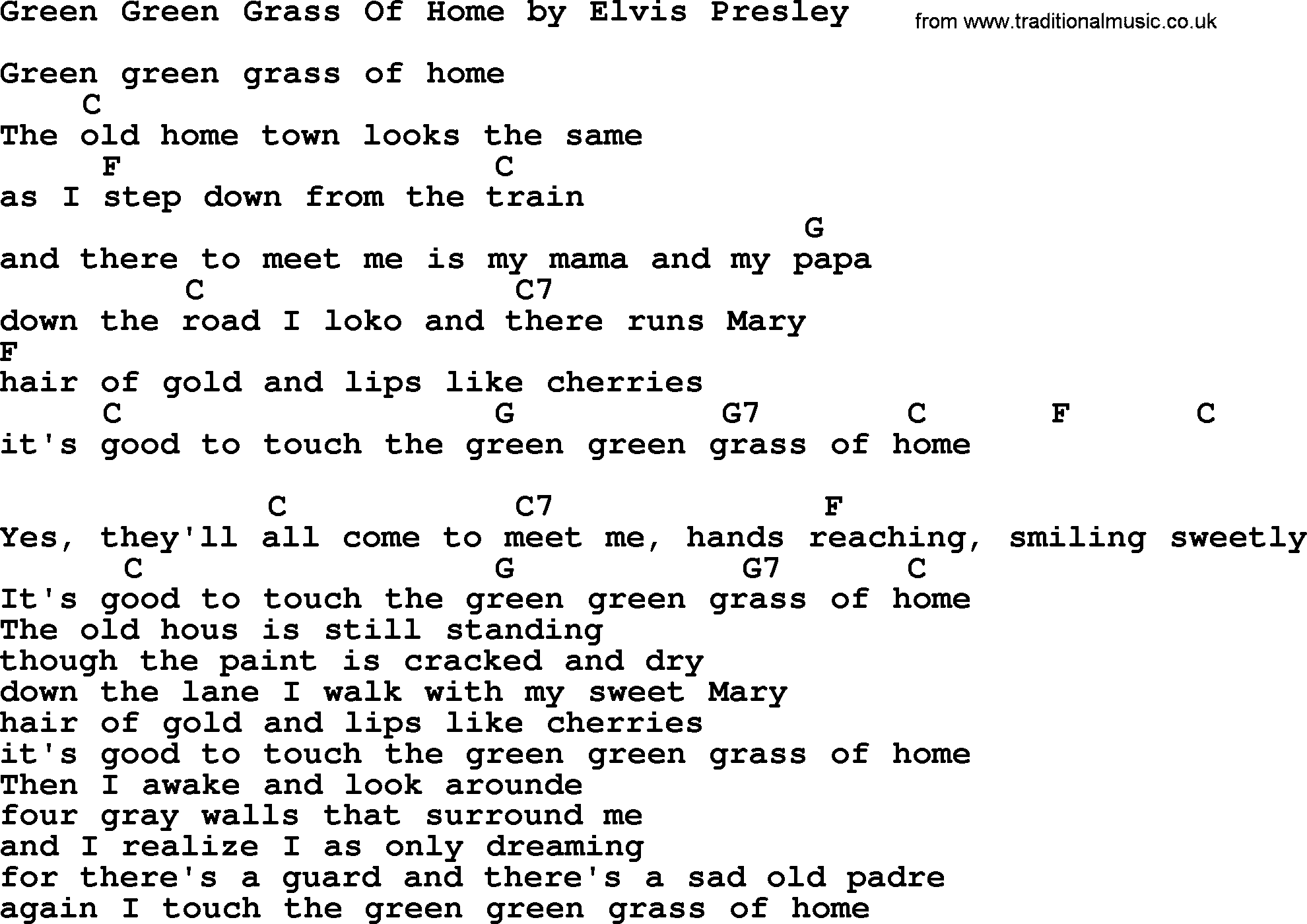 Green Green Grass Of Home, by Elvis Presley - lyrics and ...