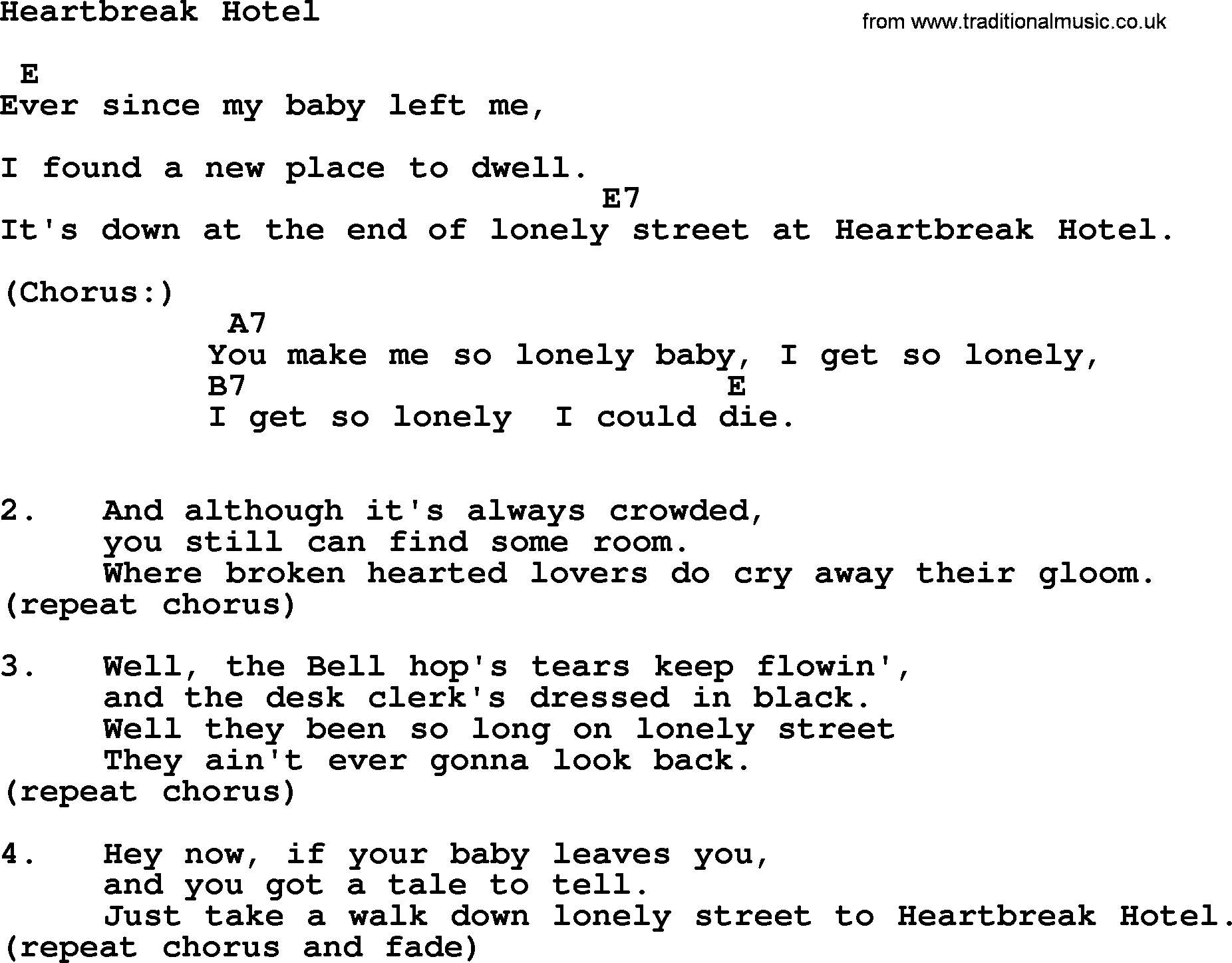 Heartbreak Hotel Guitar Chords