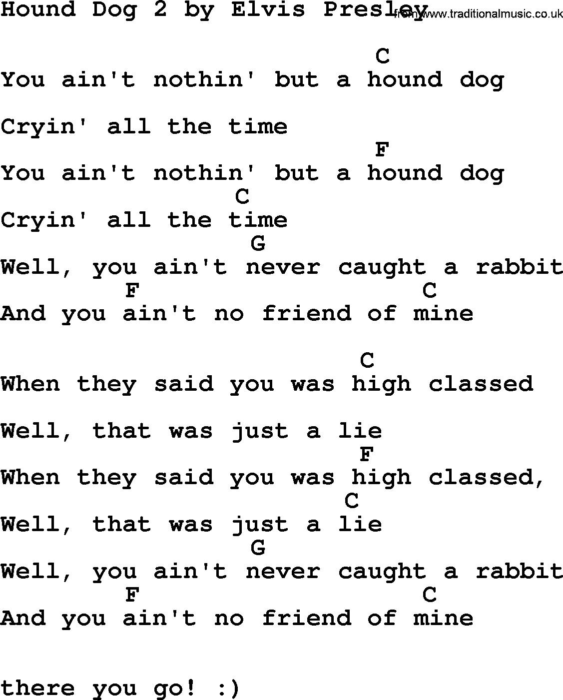 Hound Dog 2 By Elvis Presley Lyrics And Chords