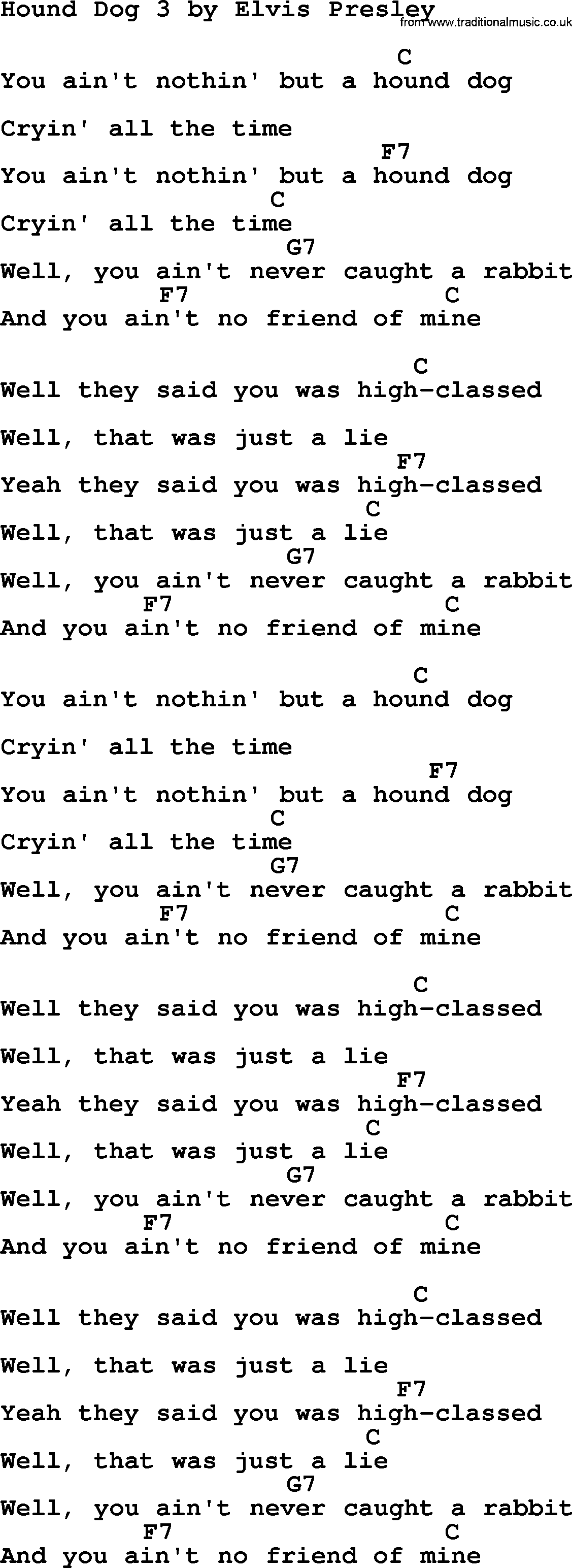 Hound Dog 3 By Elvis Presley Lyrics And Chords