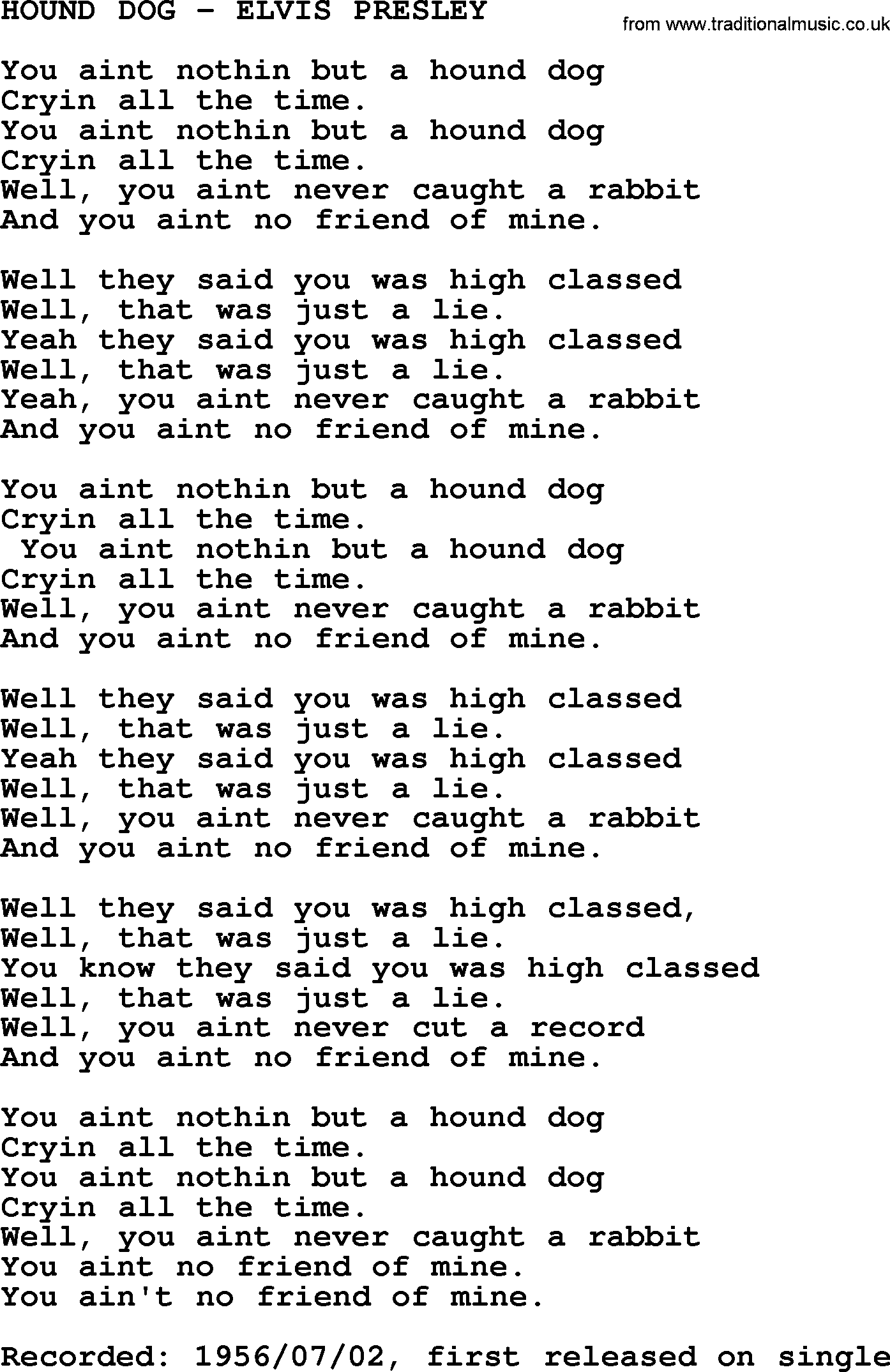 Hound Dog Elvis Presley Txt By Elvis Presley Lyrics And Chords