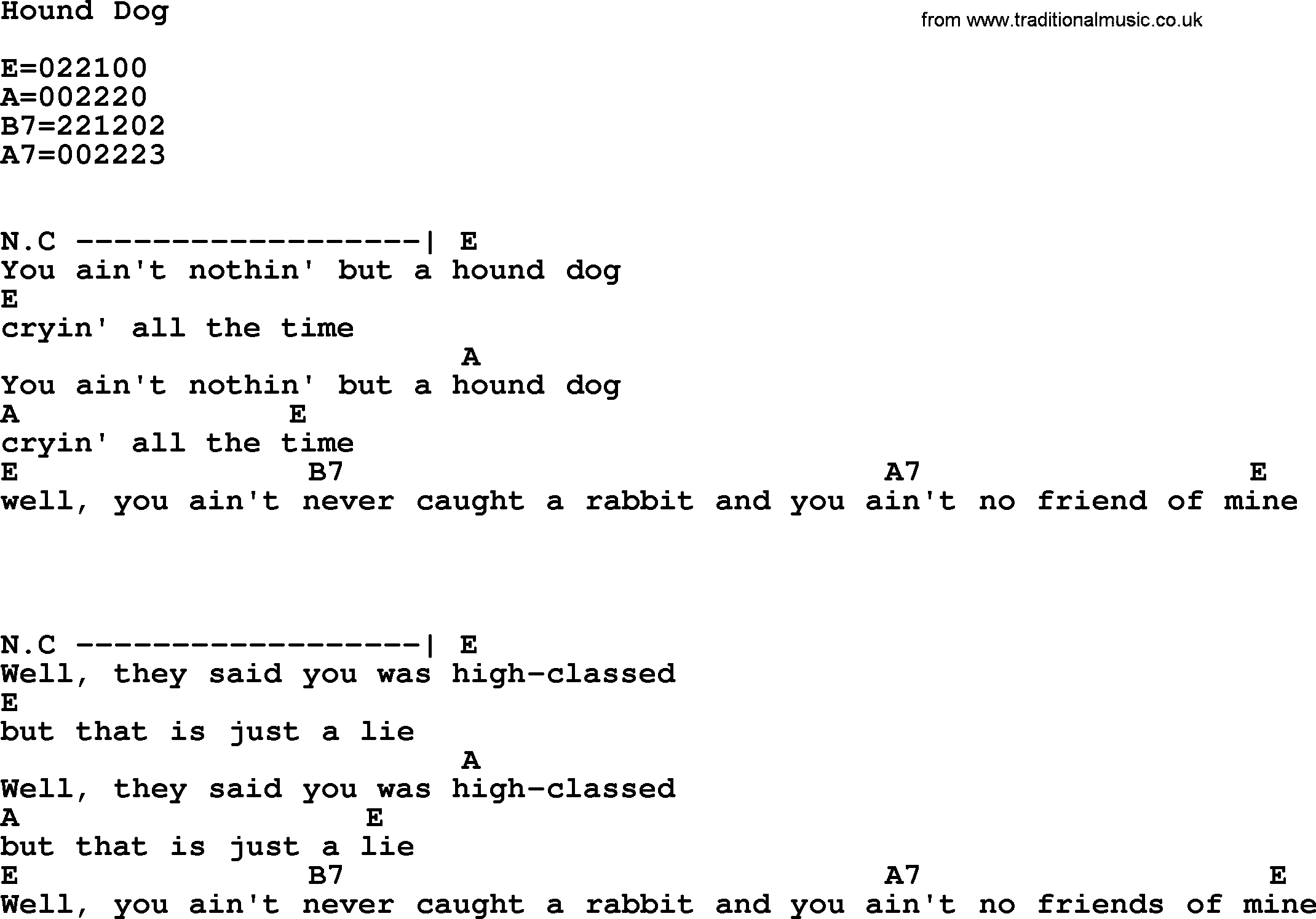 Hound Dog By Elvis Presley Lyrics And Chords
