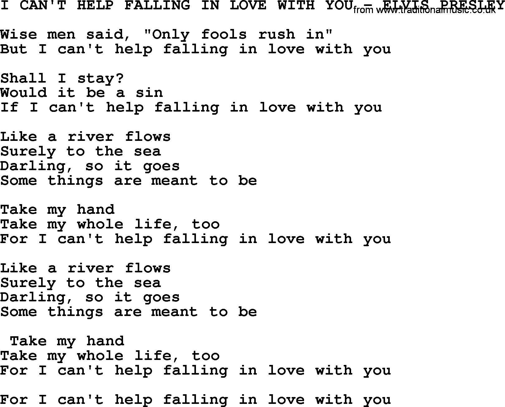i can 39 t help falling in love with you elvis presley txt