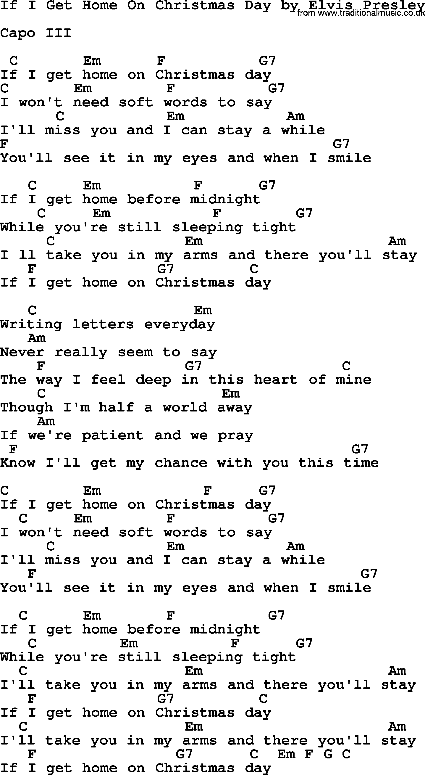 If I Get Home On Christmas Day, by Elvis Presley - lyrics and chords